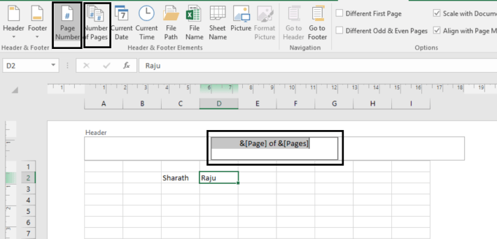 Page Number in excel -4