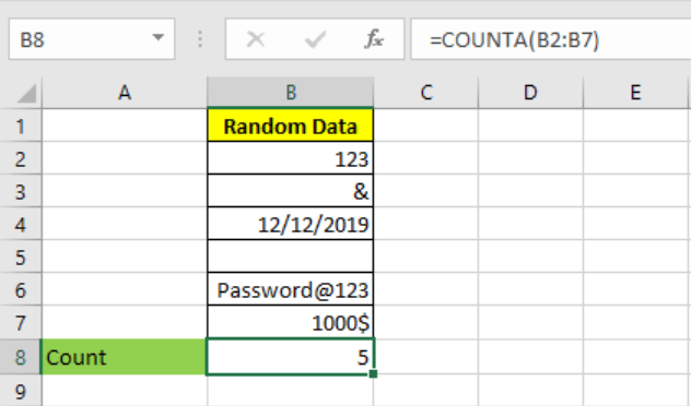 Excel COUNTA function 1