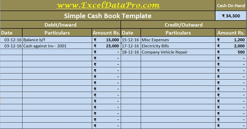 Petty cash fund reconciliation template. Download Cash Book Excel Template Exceldatapro