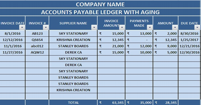 Download Accounts Payable Excel Template - ExcelDataPro