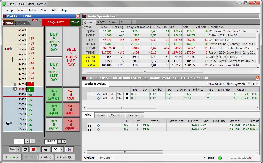 CQG - Excel Futures