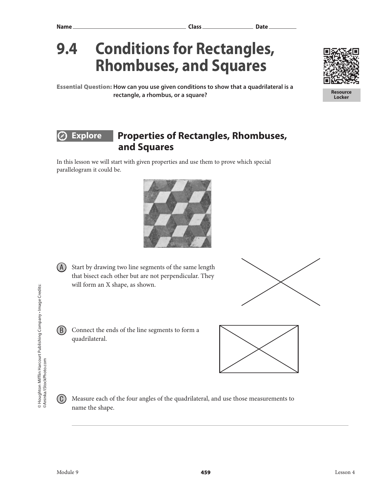 Properties Of Rectangles Rhombuses And Squares Worksheet