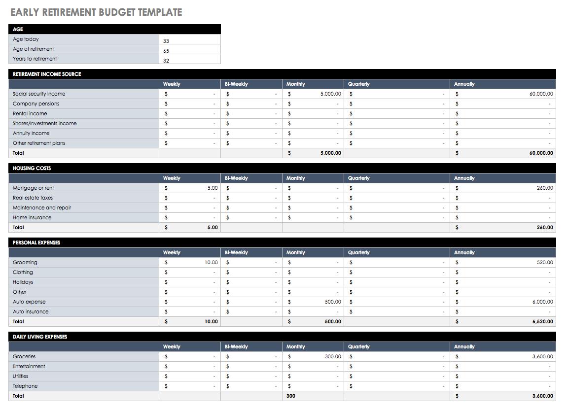 Retirement Budget Worksheet Excel