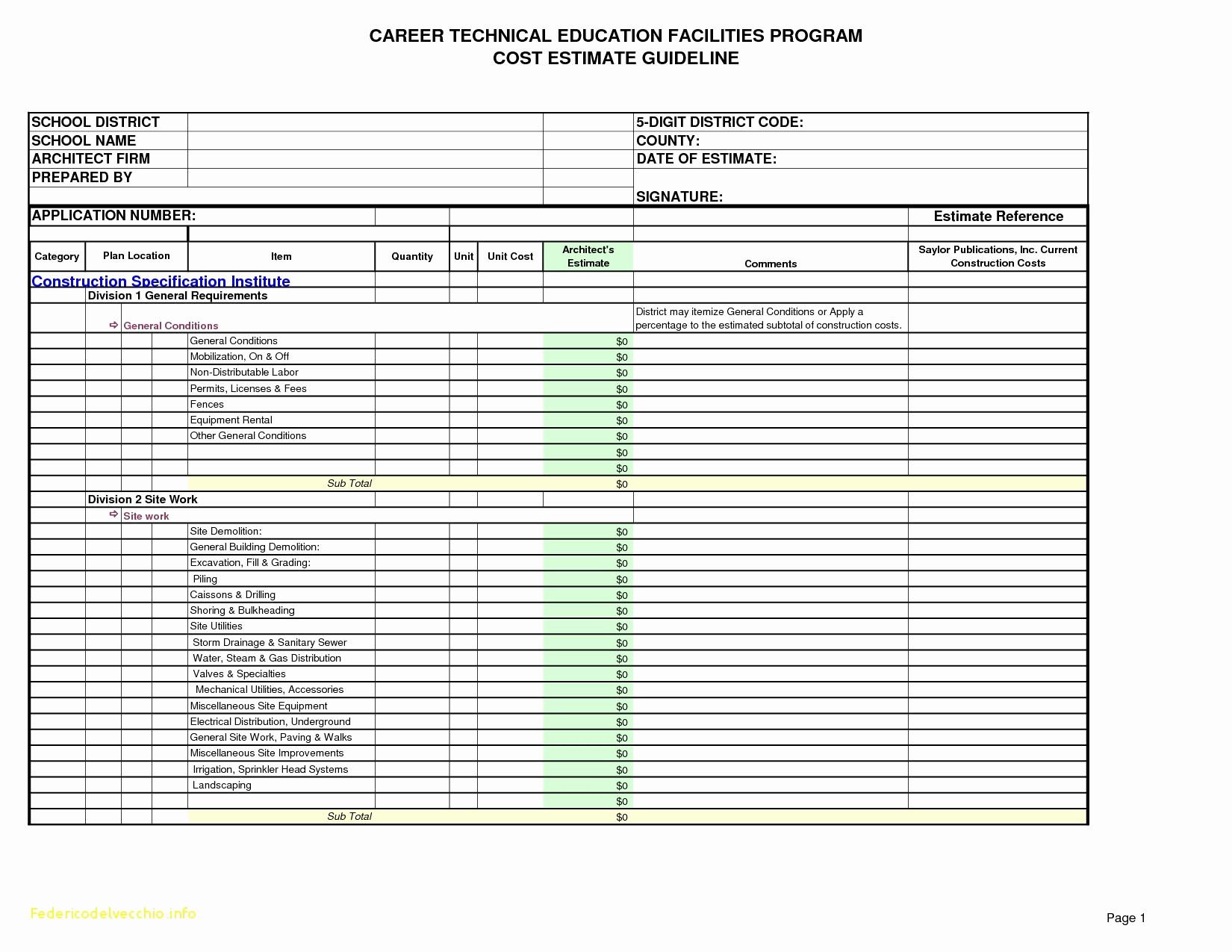 Construction Estimating Worksheets Excel
