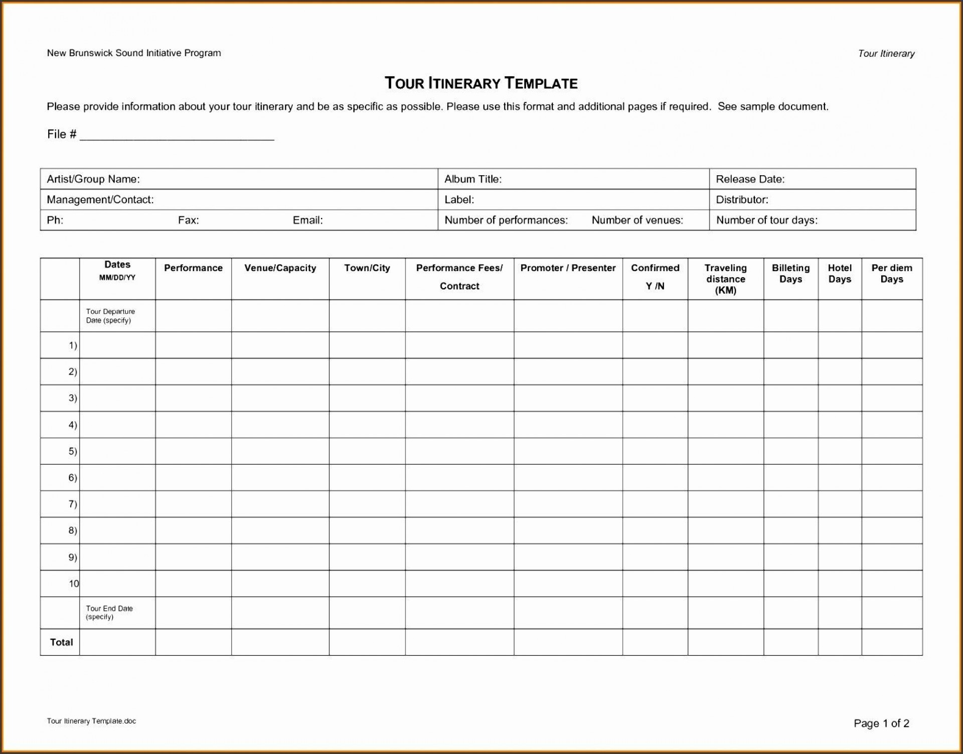 Travel Itinerary Template Excel