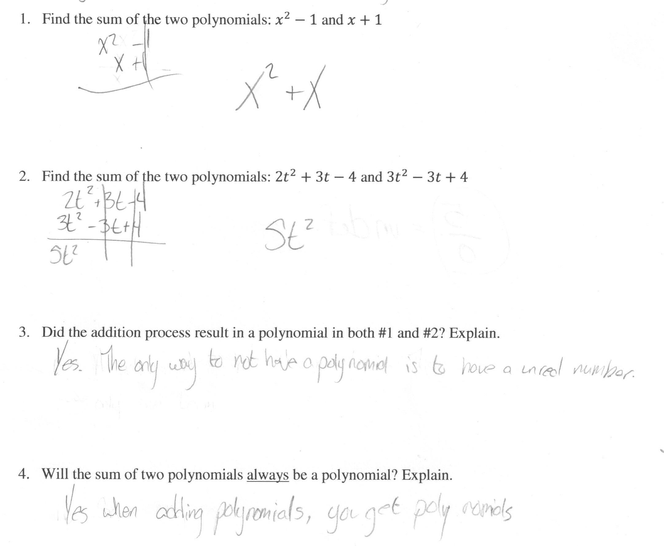 Adding Polynomials Worksheet