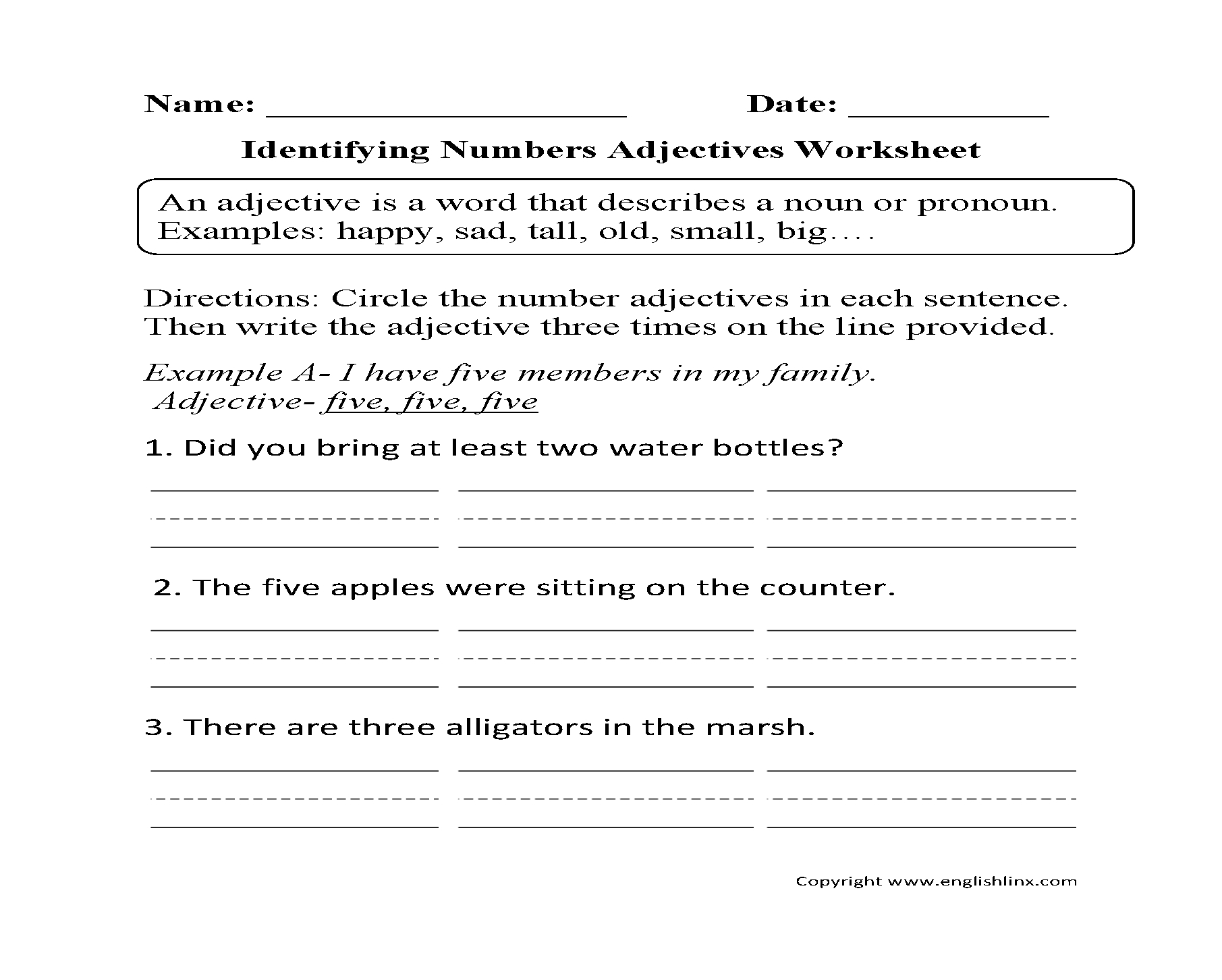 Words Used As Nouns And Adjectives Worksheet