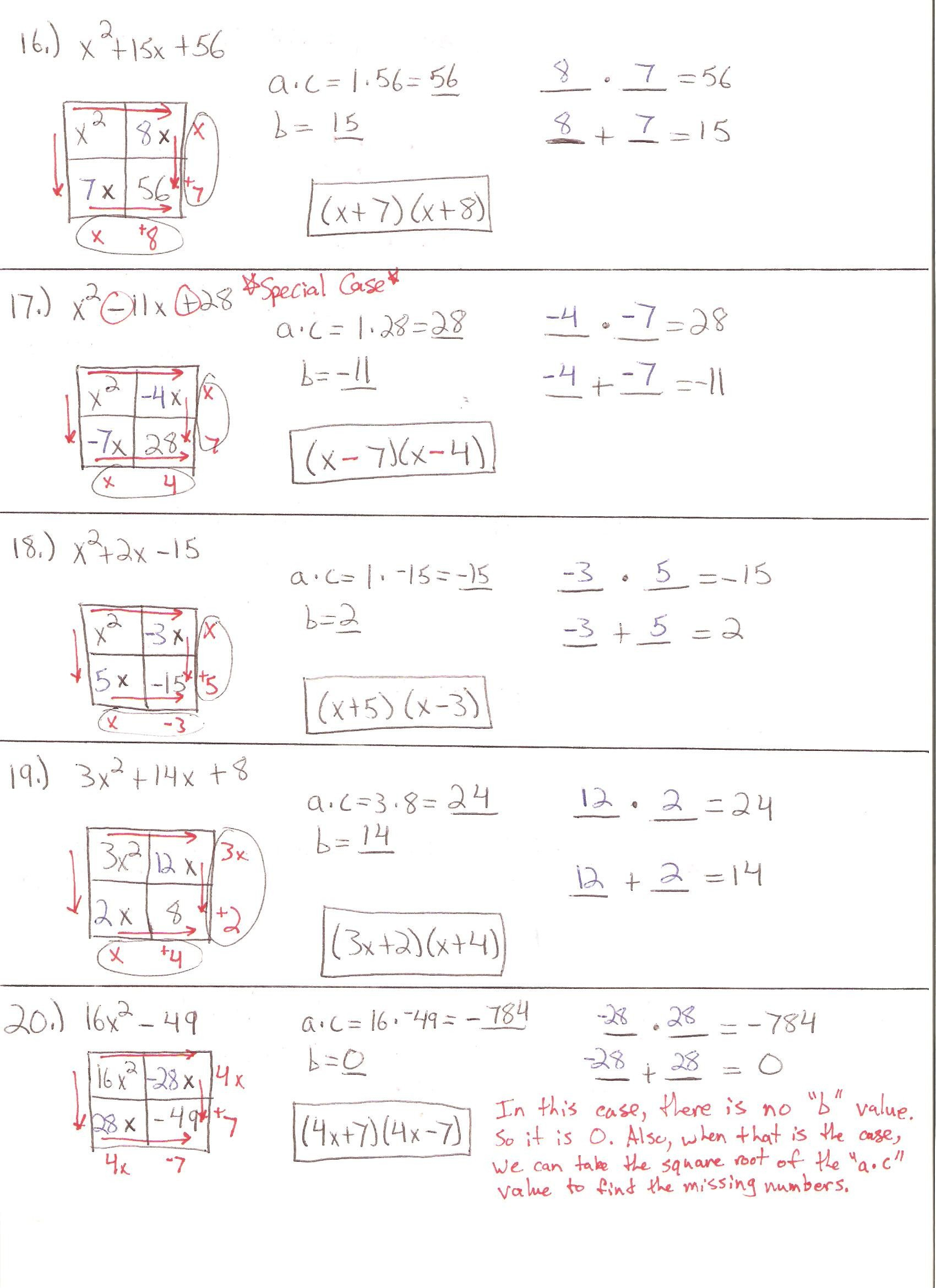 Factoring Review Worksheet Excelguider