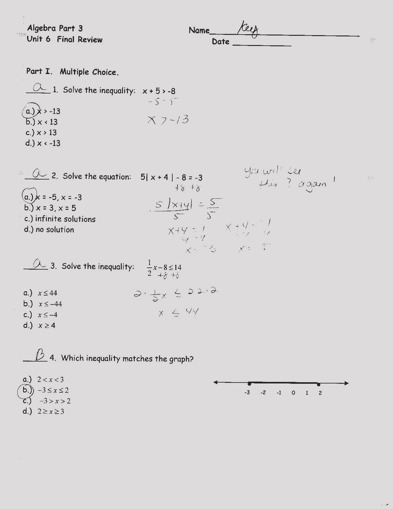 Linear Equations Review Worksheet