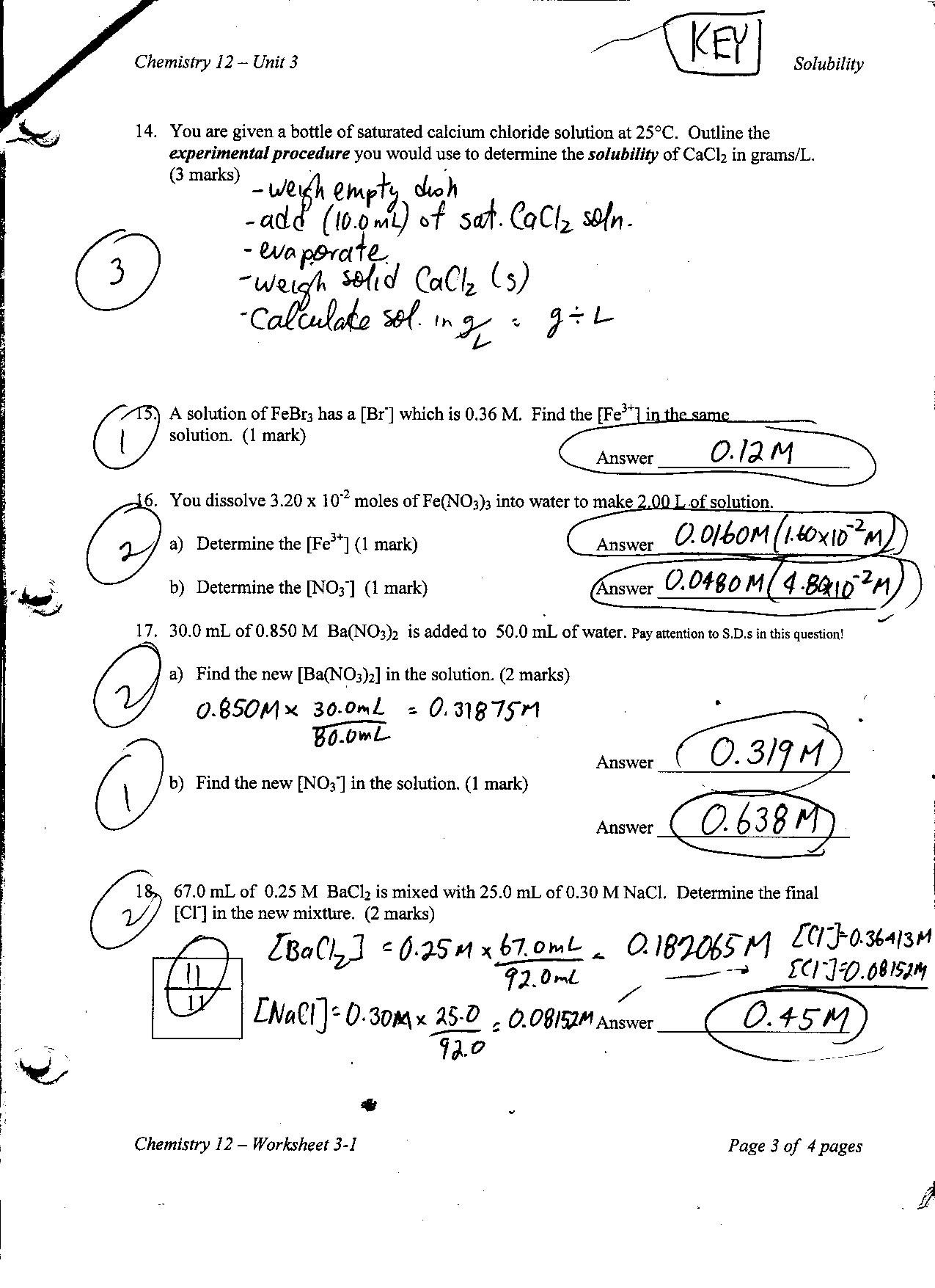 Chemistry Unit 6 Worksheet 1 Answer Key
