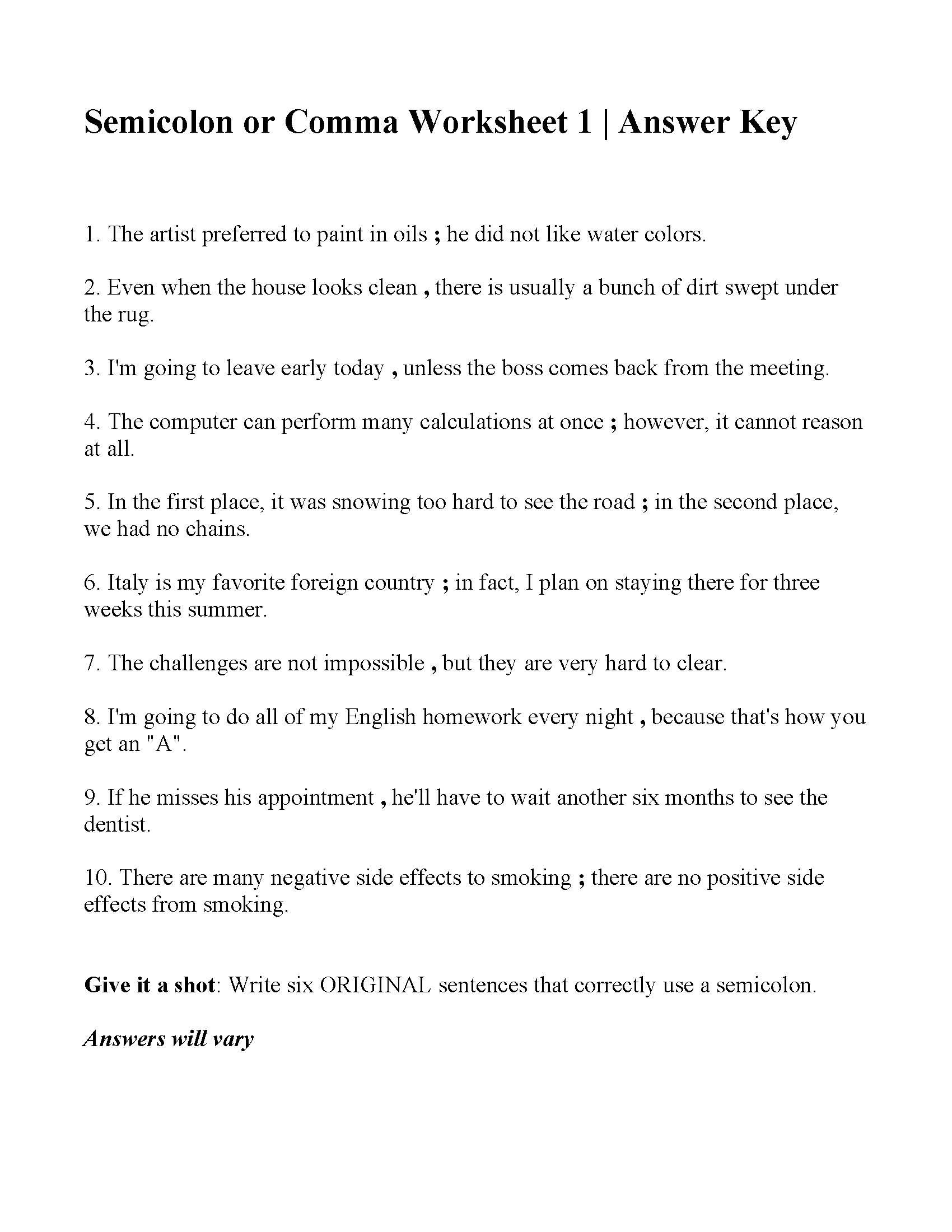 Semicolon And Colon Worksheet With Answers
