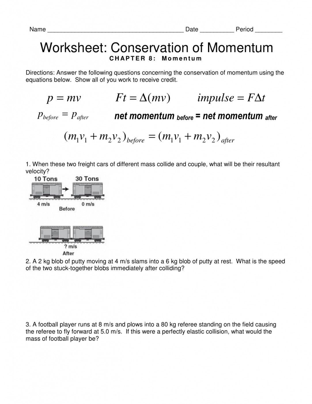 Conservation Of Mass Worksheet