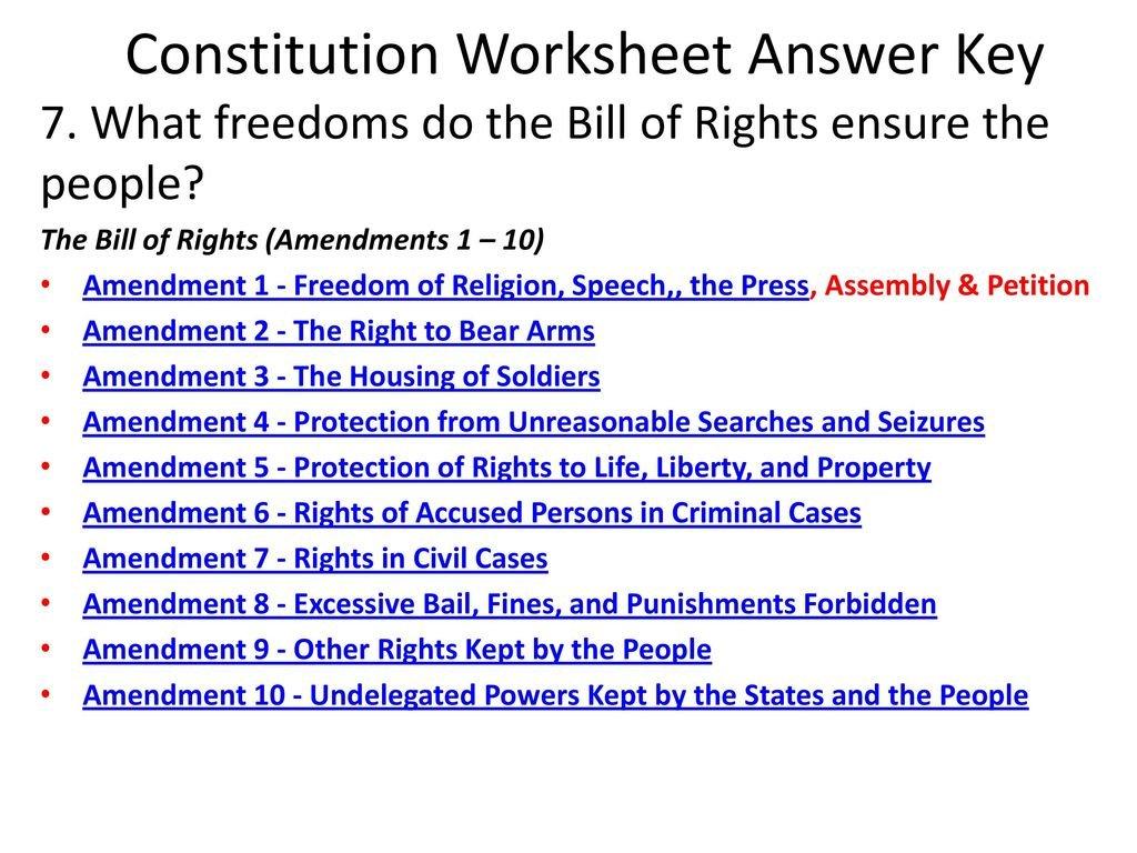 Bill Of Rights Amendments 1 10 Worksheet