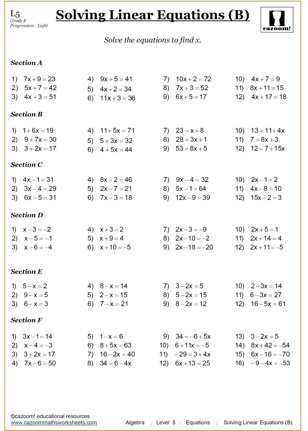 Mathnasium Worksheets