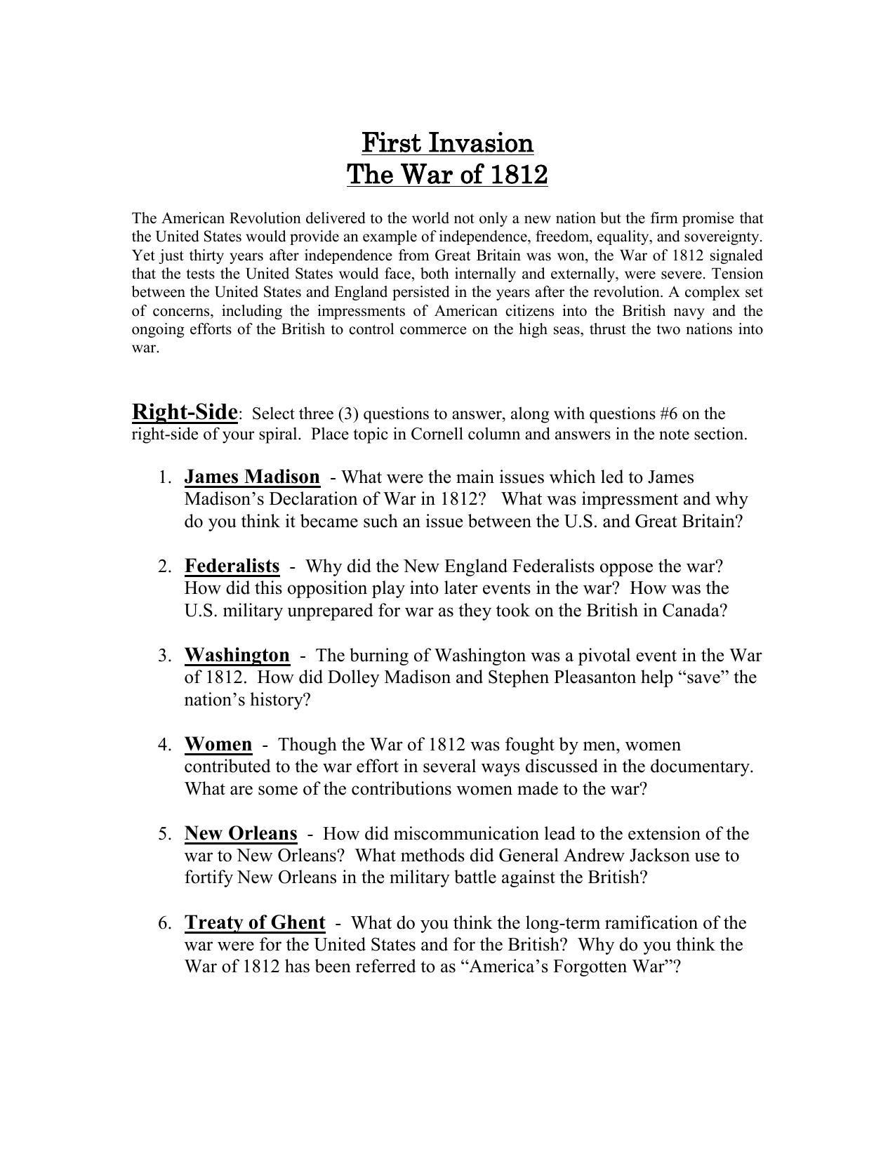 First Invasion War Of Video Worksheet Answers