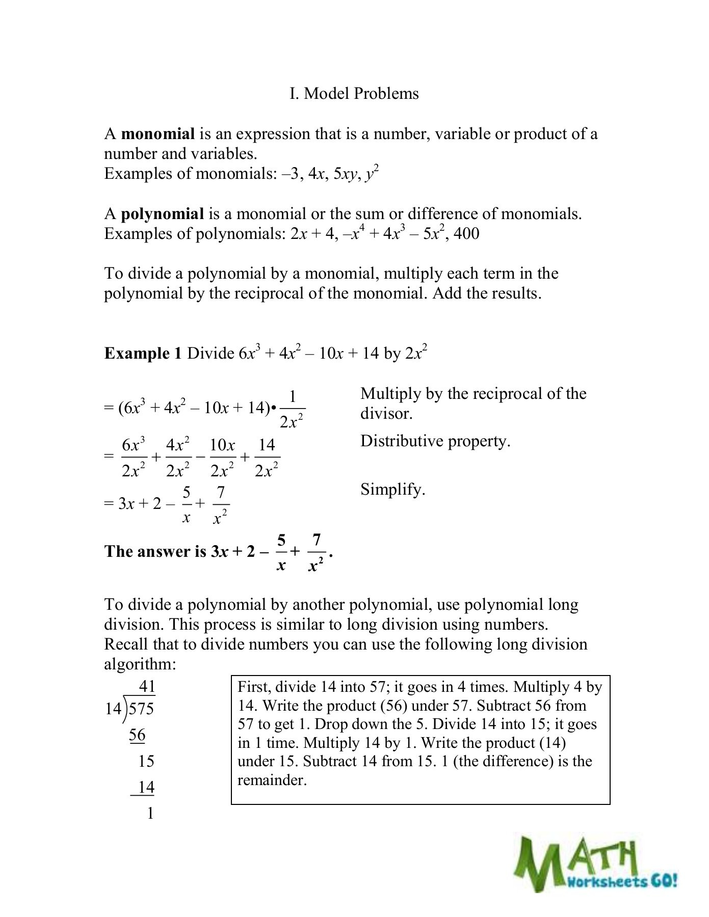 Dividing Polynomials Worksheet