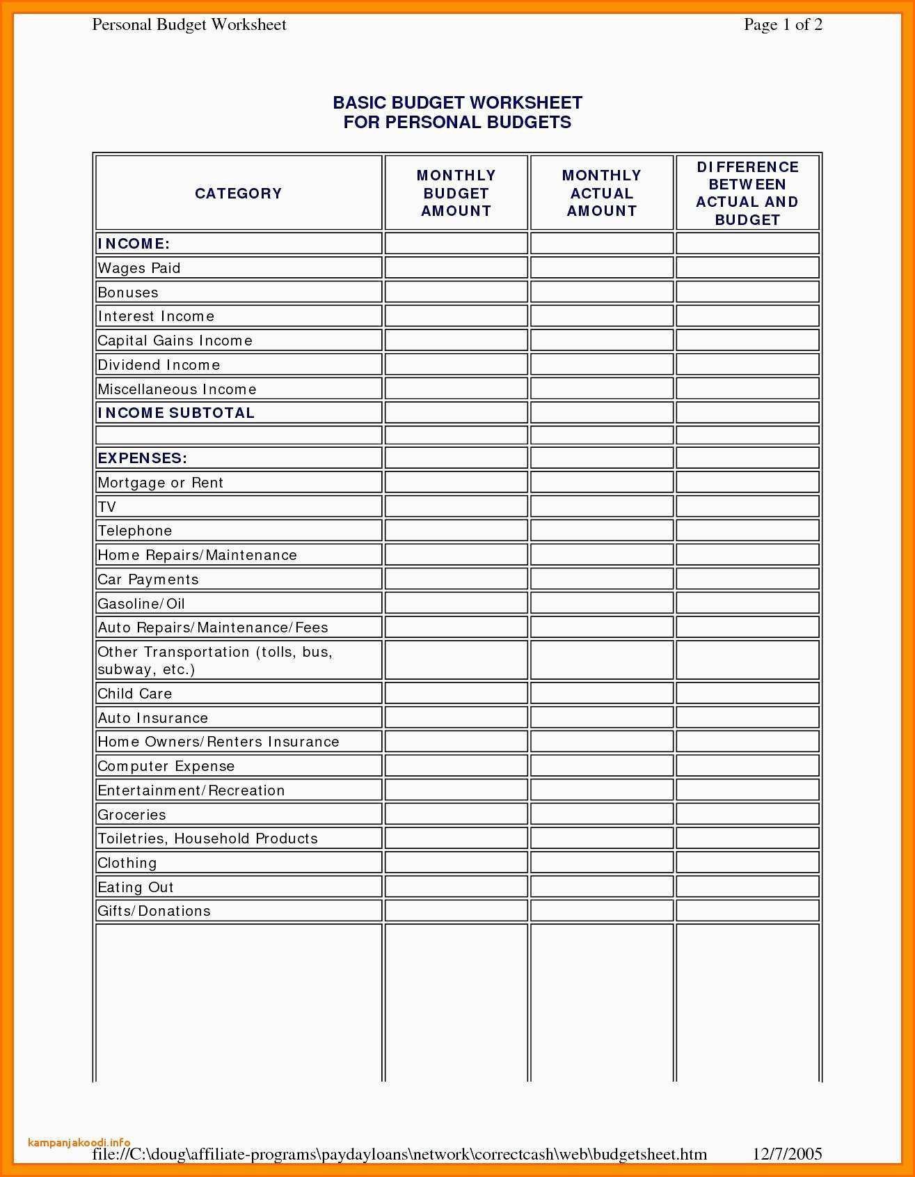 Bankruptcy Expense Worksheet