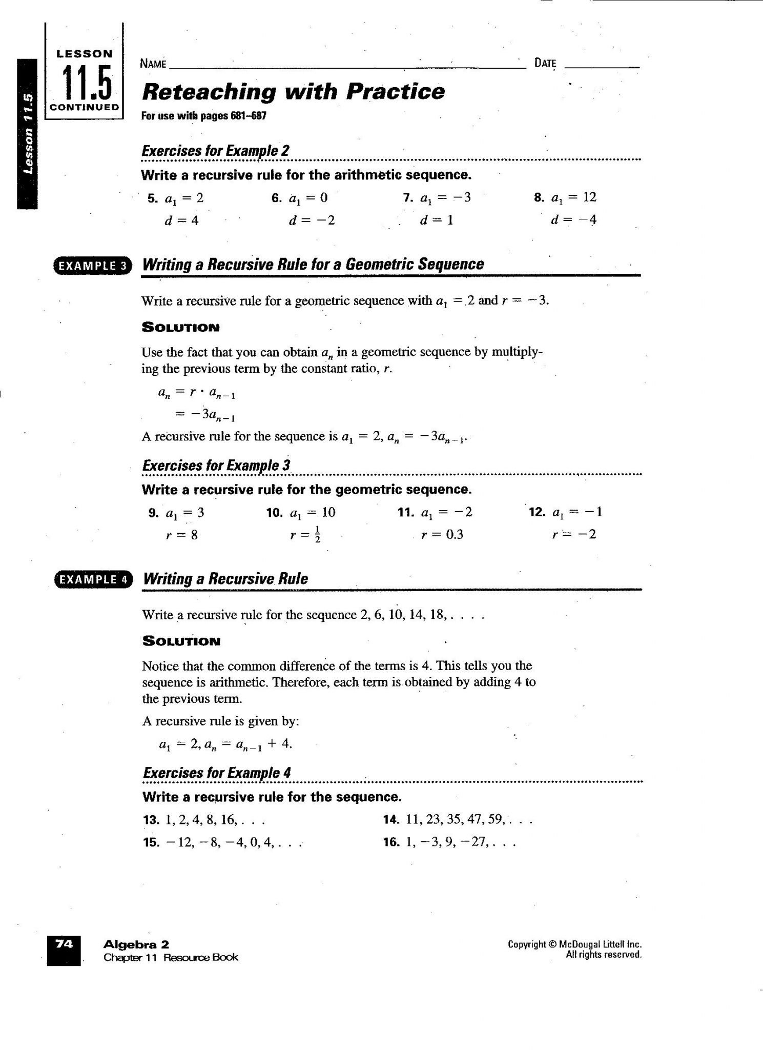Sequences Practice Worksheet