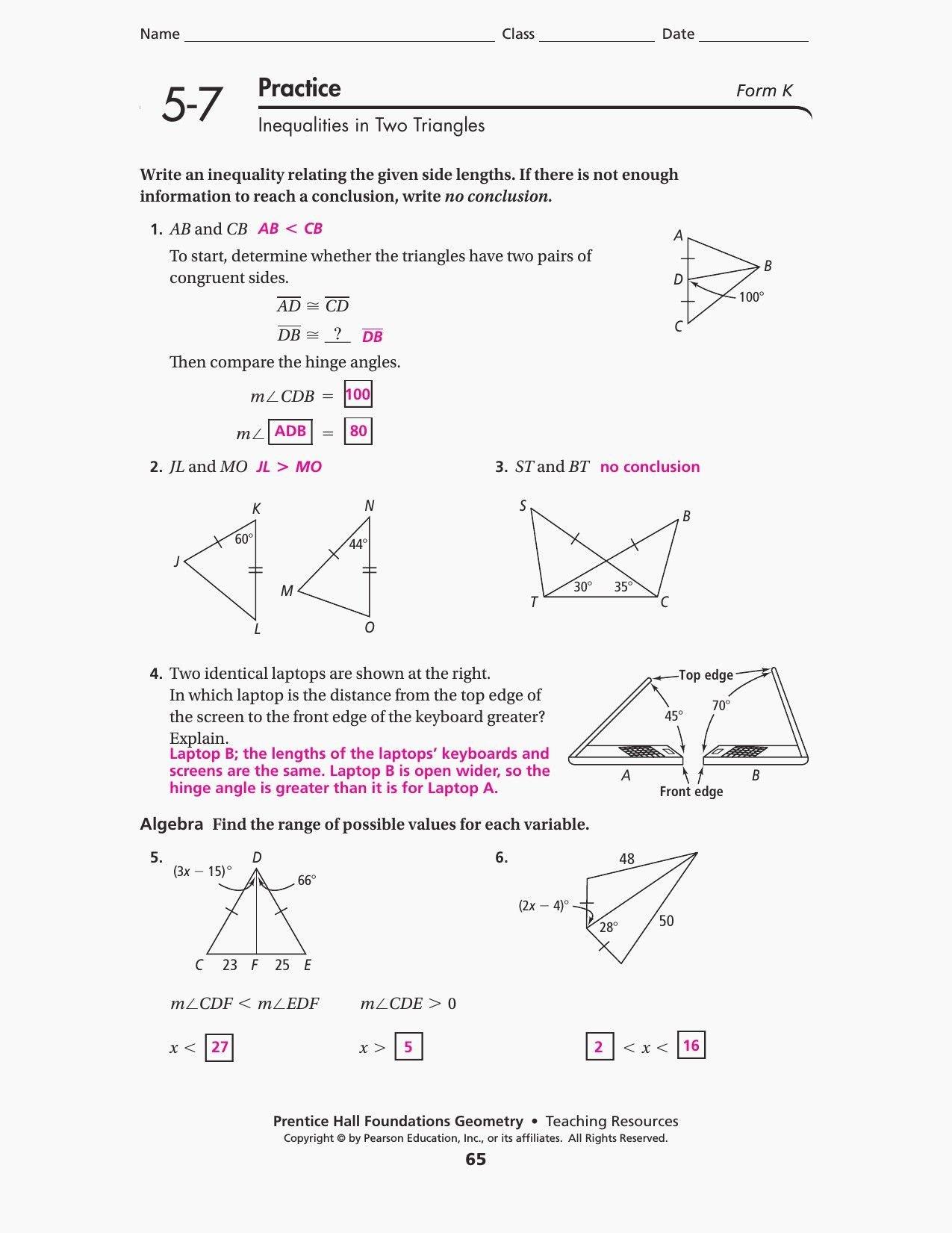 Glencoe Geometry Chapter 7 Worksheet Answers