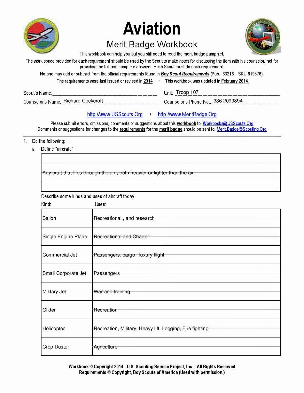 Chess Merit Badge Worksheet