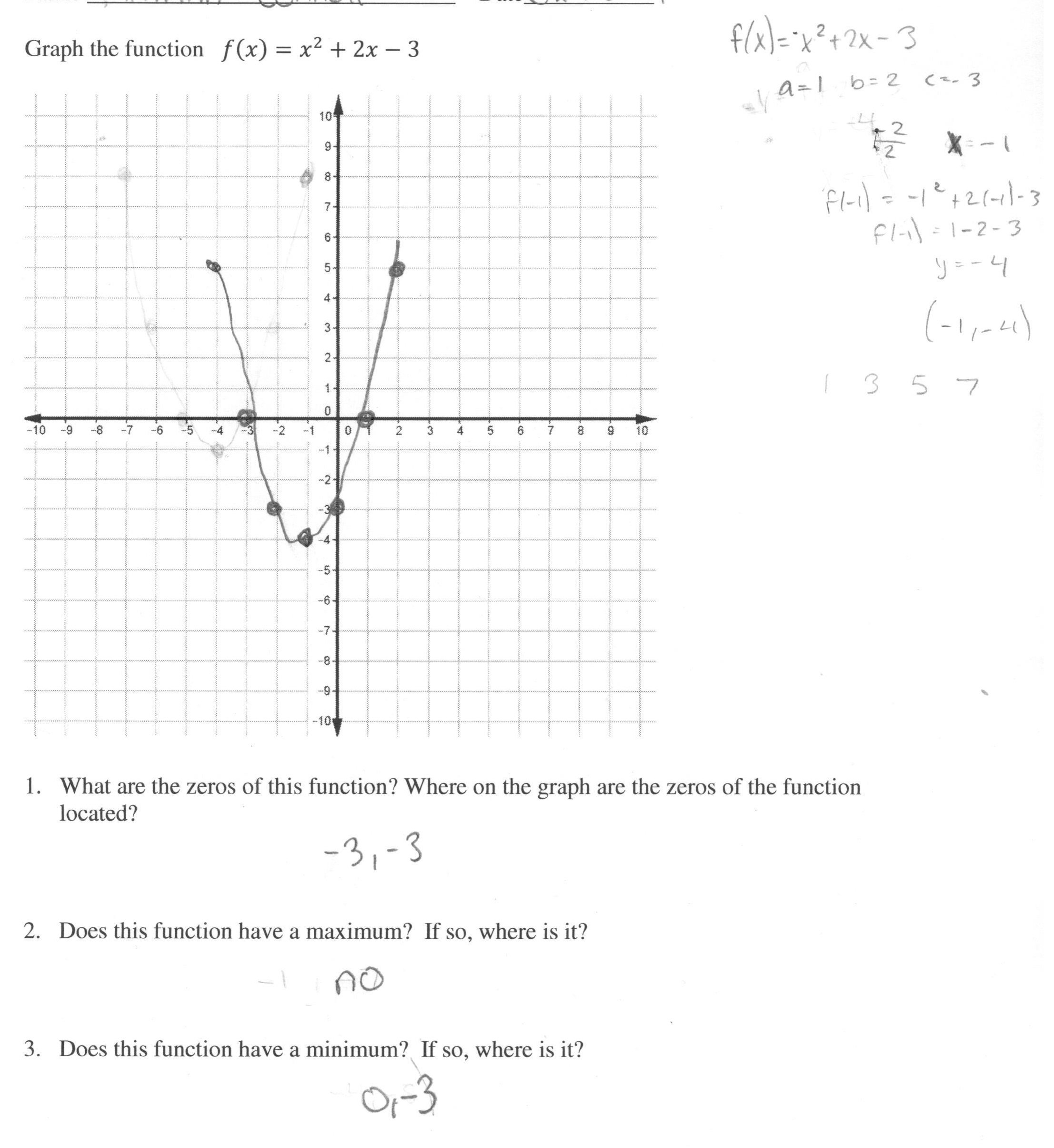 Graphing Quadratic Functions Worksheet Answers Algebra 1