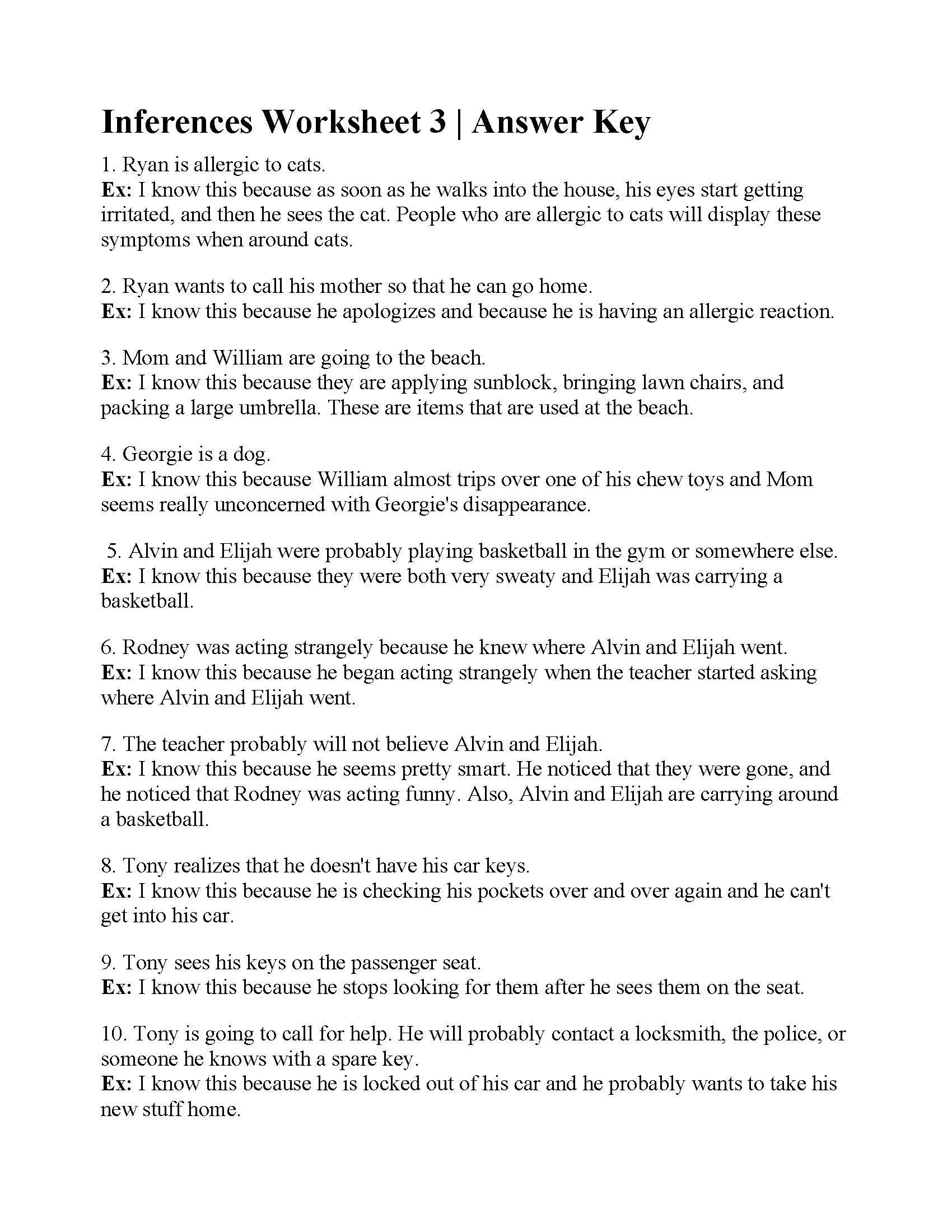 Inferences Worksheet 2 Excelguider