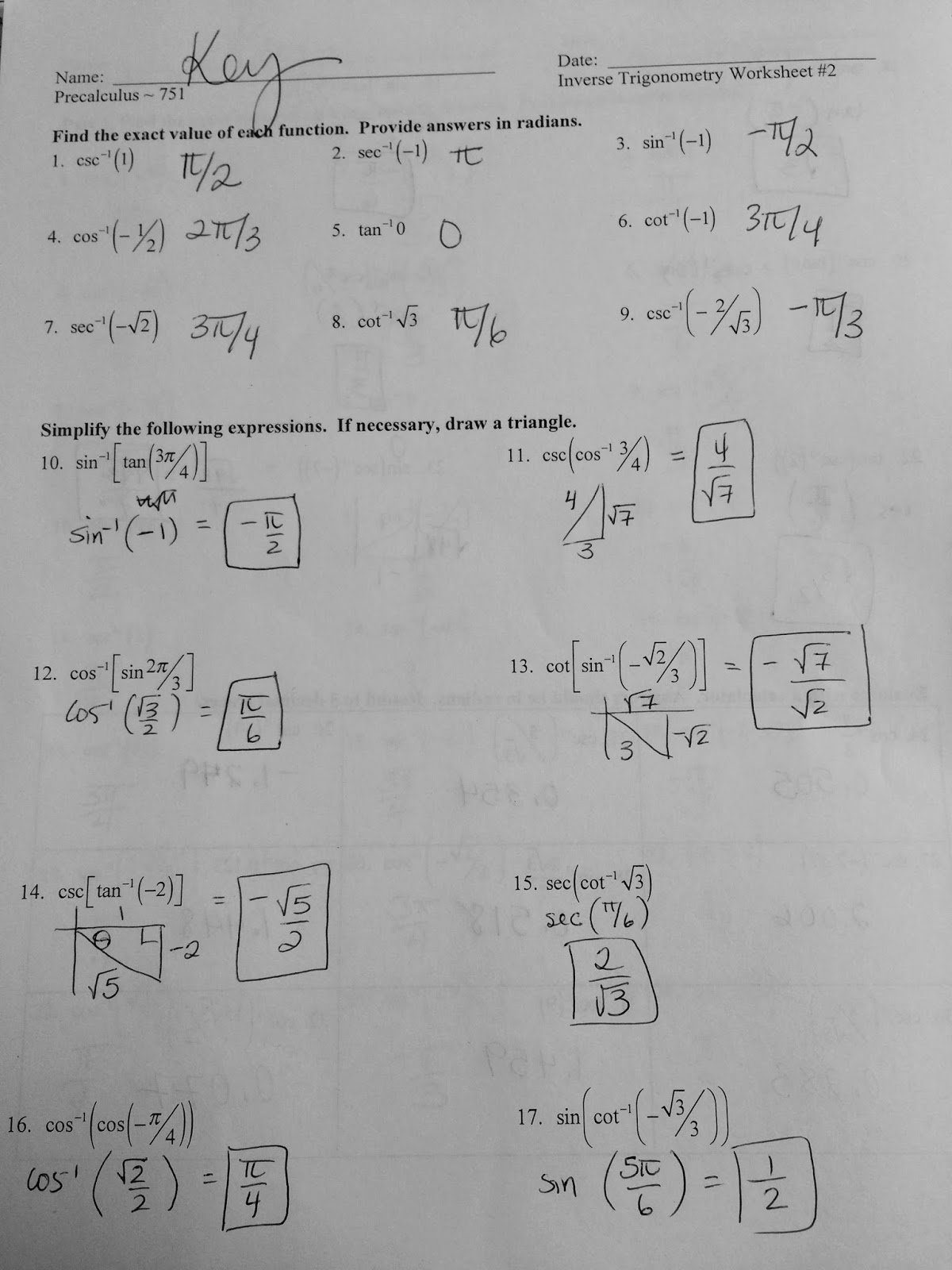 Precalculus Inverse Functions Worksheet Answers