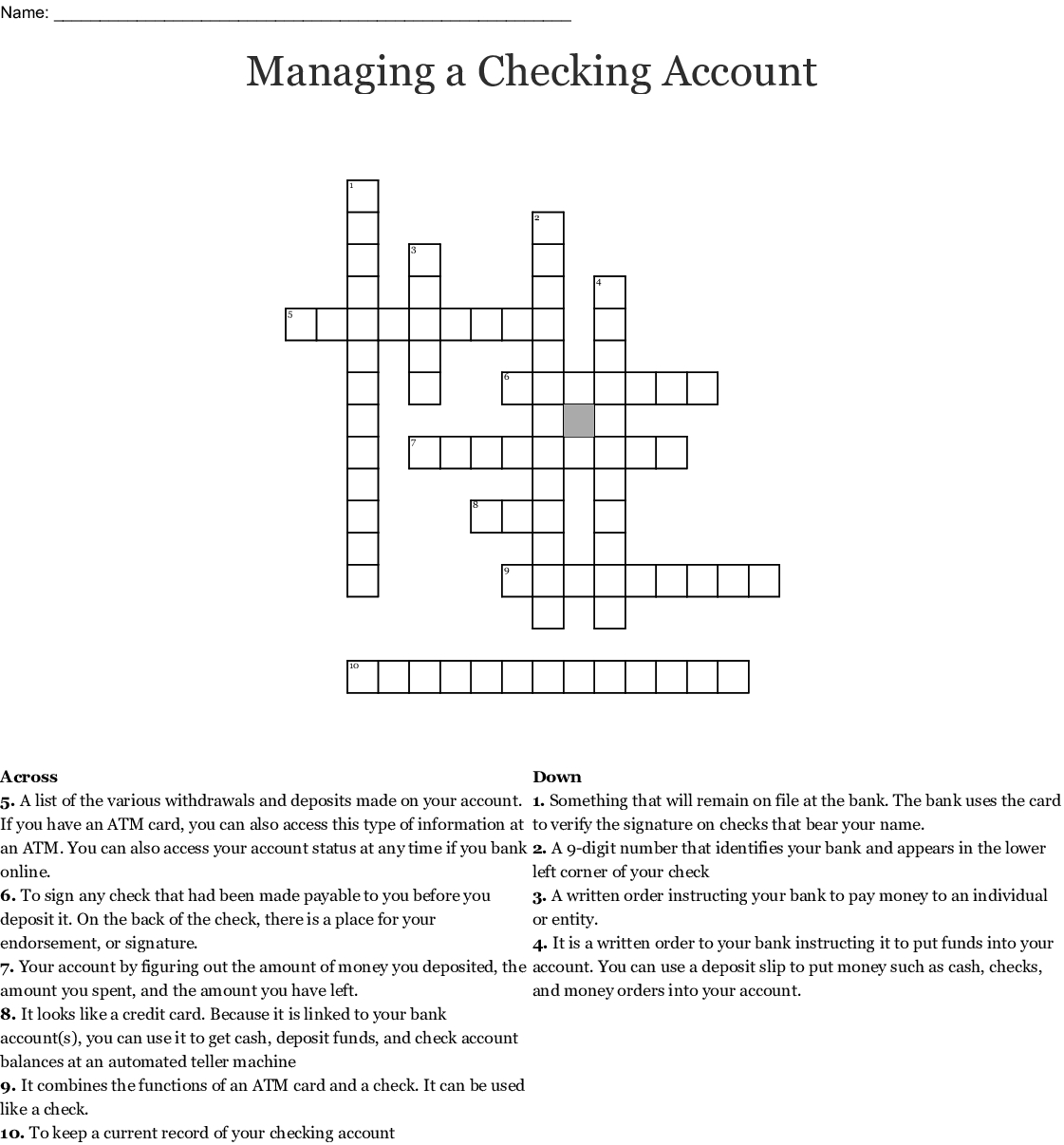 Managing A Checking Account Worksheet Answers