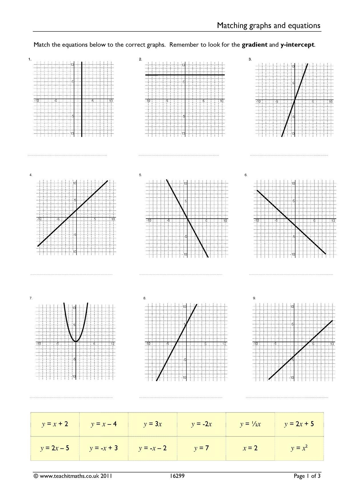 Matching Equations And Graphs Worksheet Answers