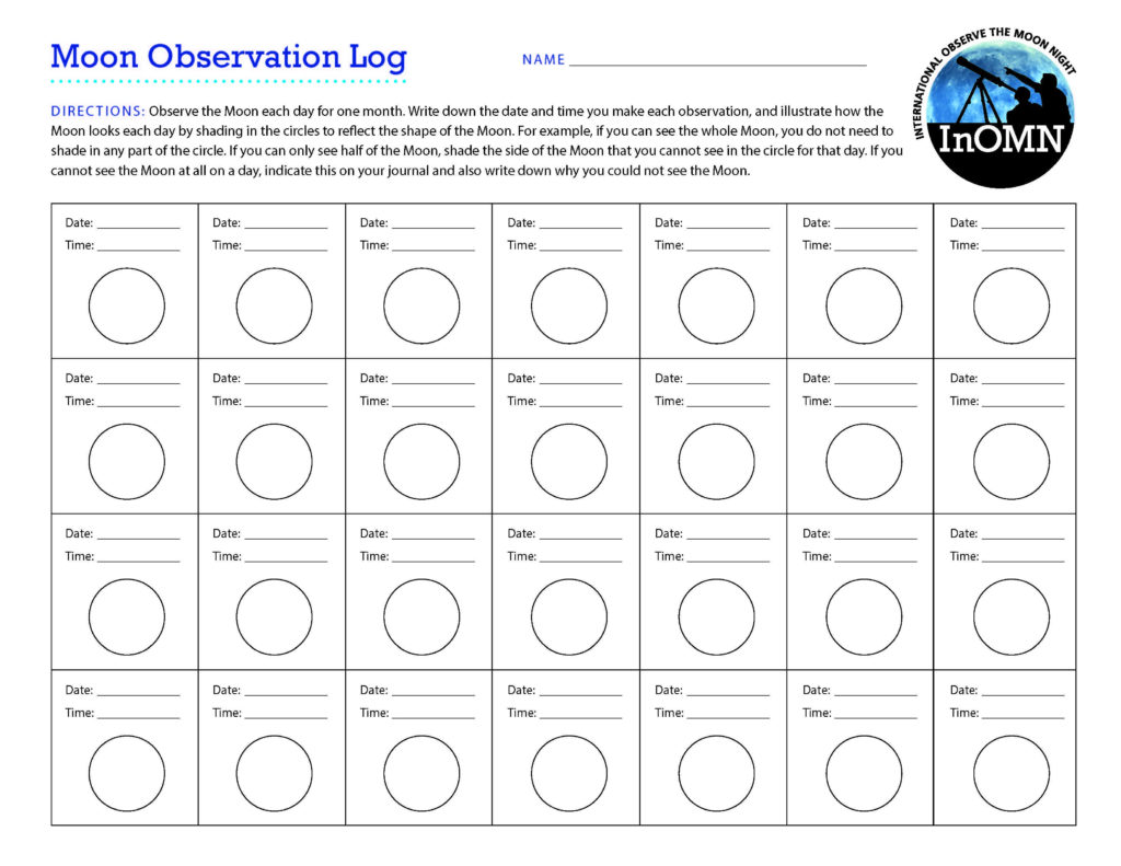 Moon Observation Journal Moon Nasa Science For Moon Phases