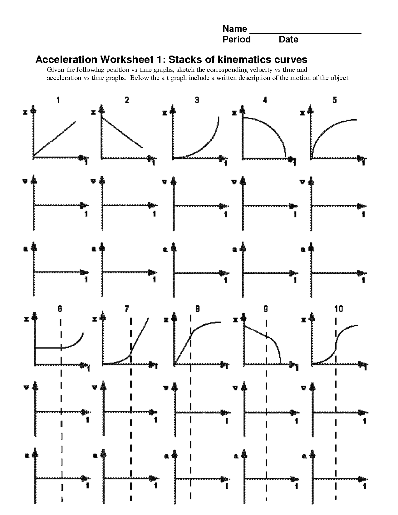 Kinematics Motion Graphs Worksheet Answers