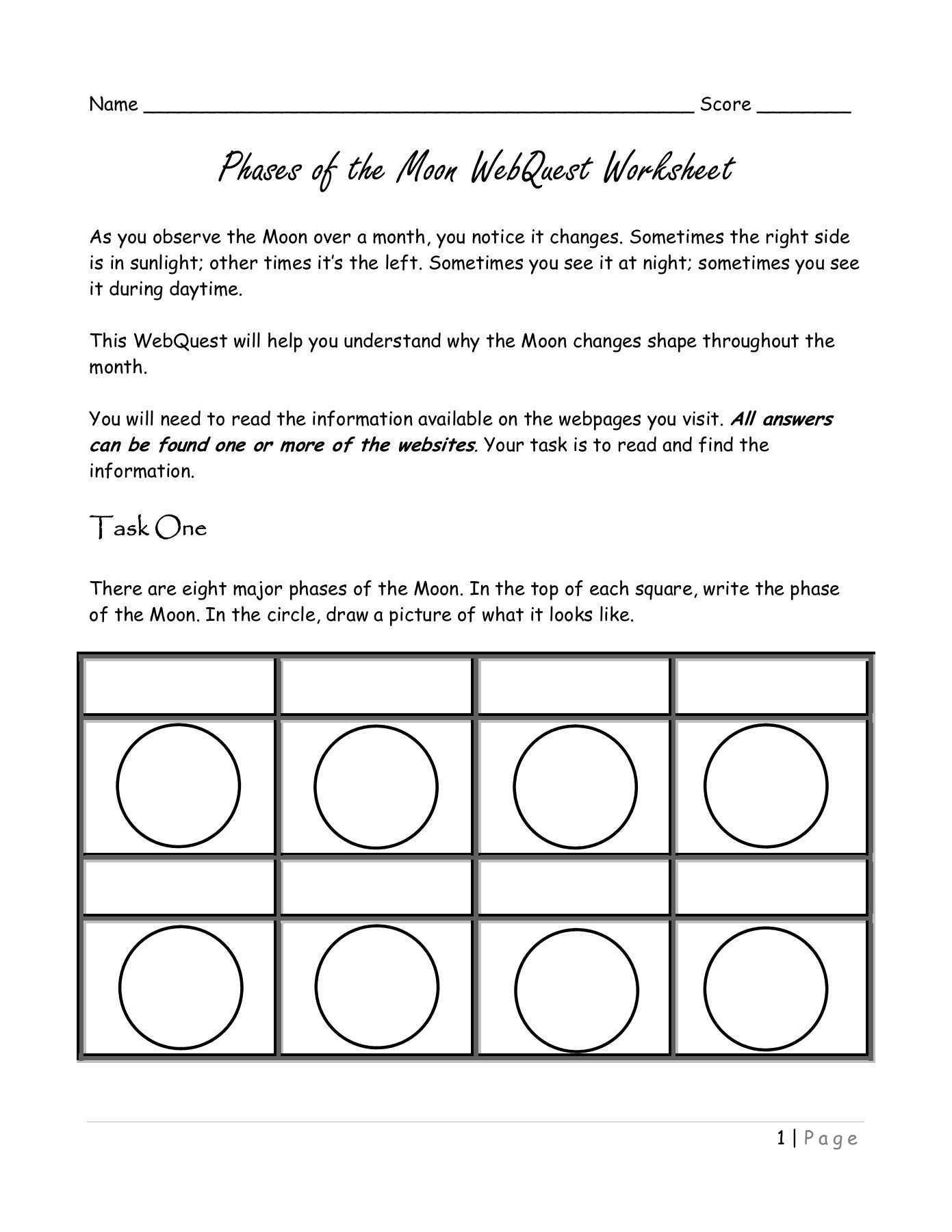 Moon Phases Worksheet Answers