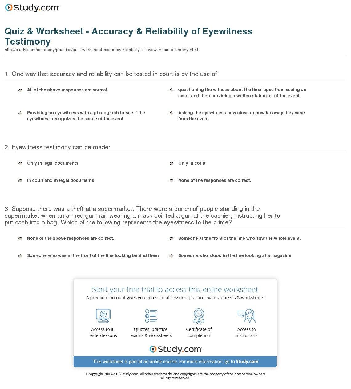 Personal Testimony Worksheet