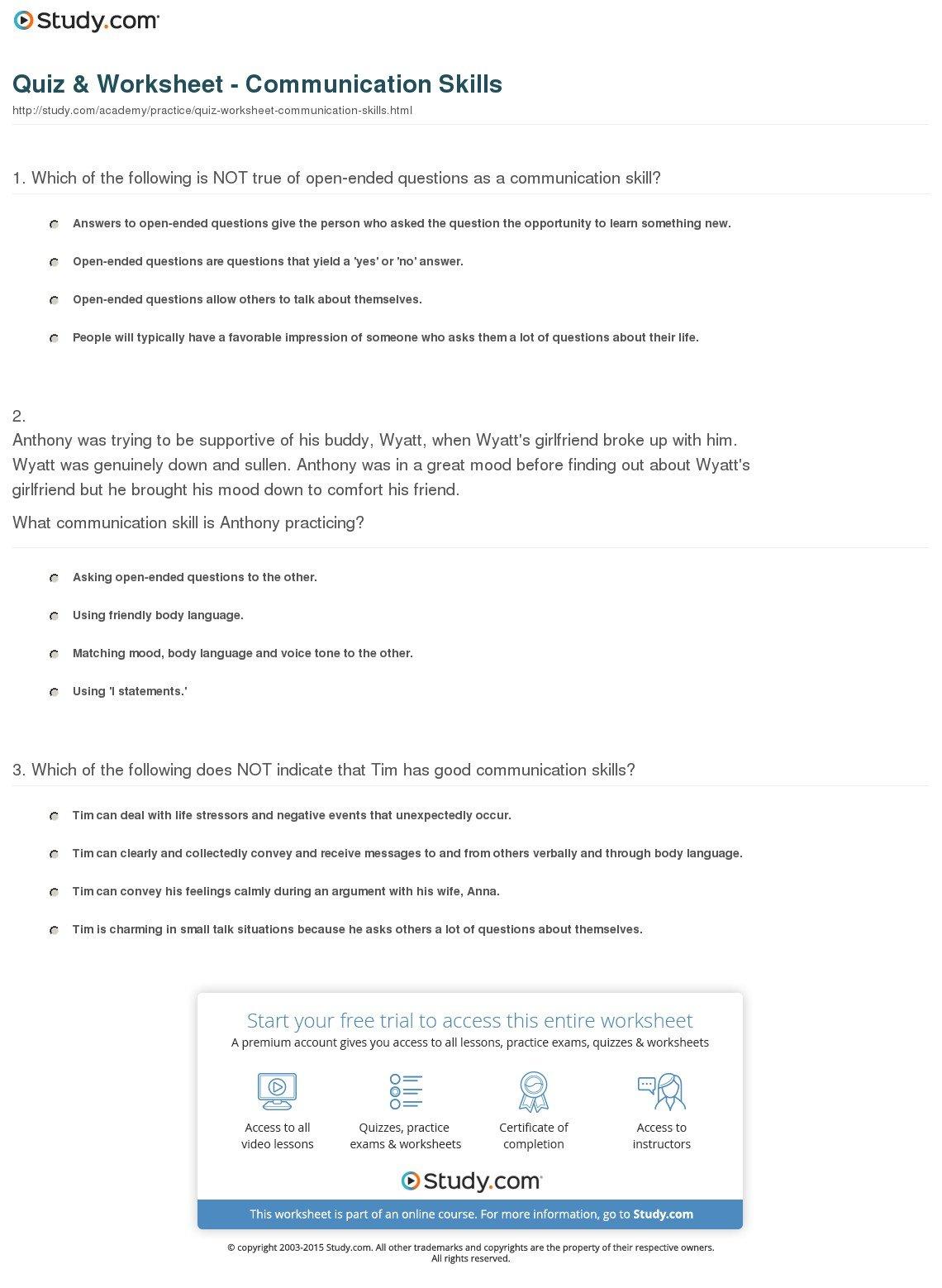 Positive Communication Skills Worksheets