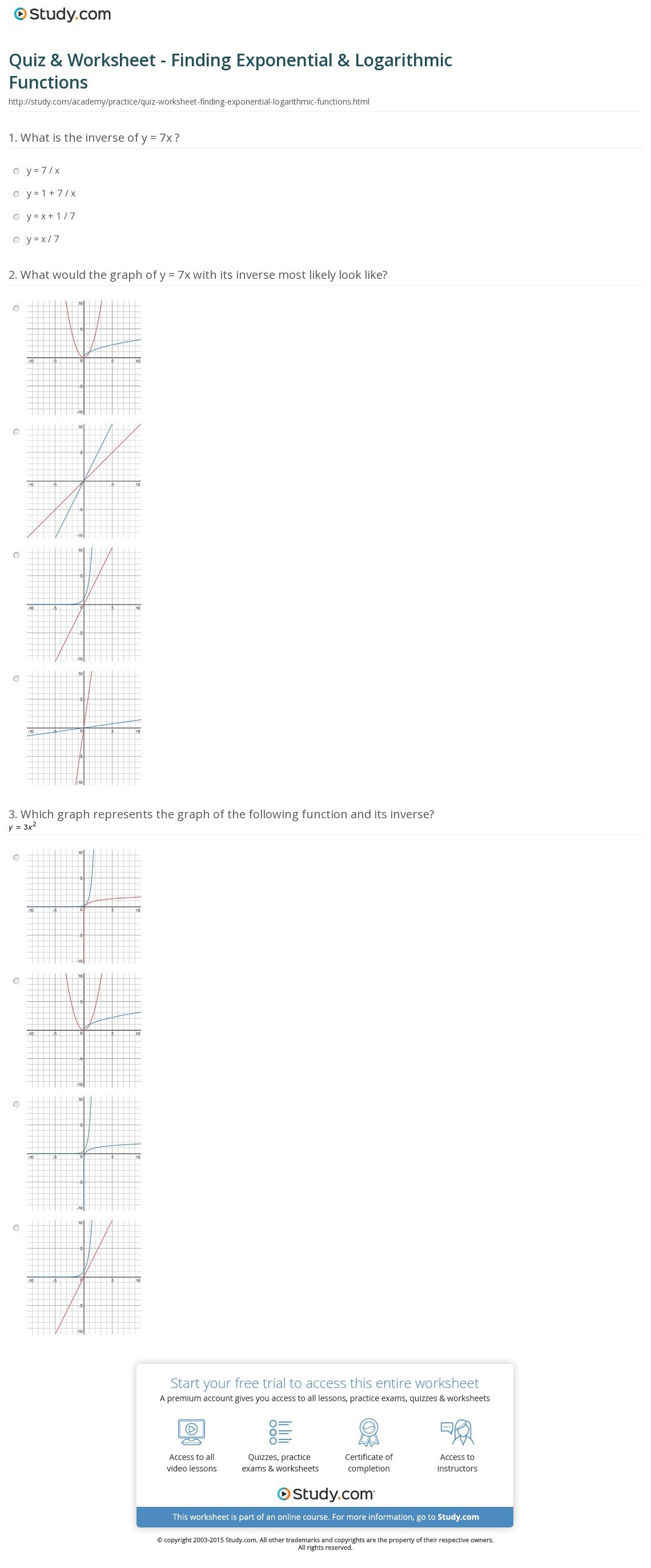 Graphing Logarithmic Functions Worksheet
