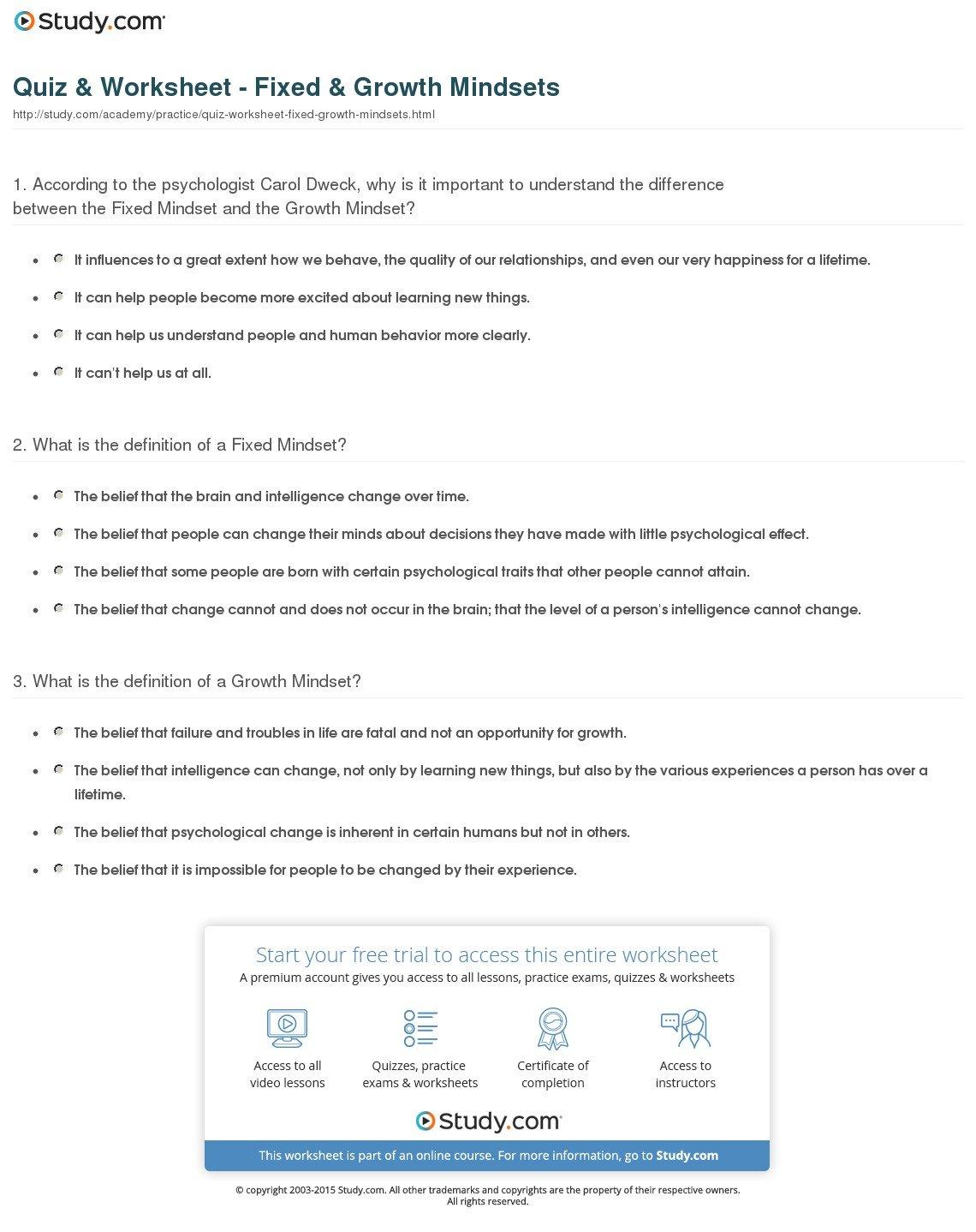 Growth Mindset Worksheet