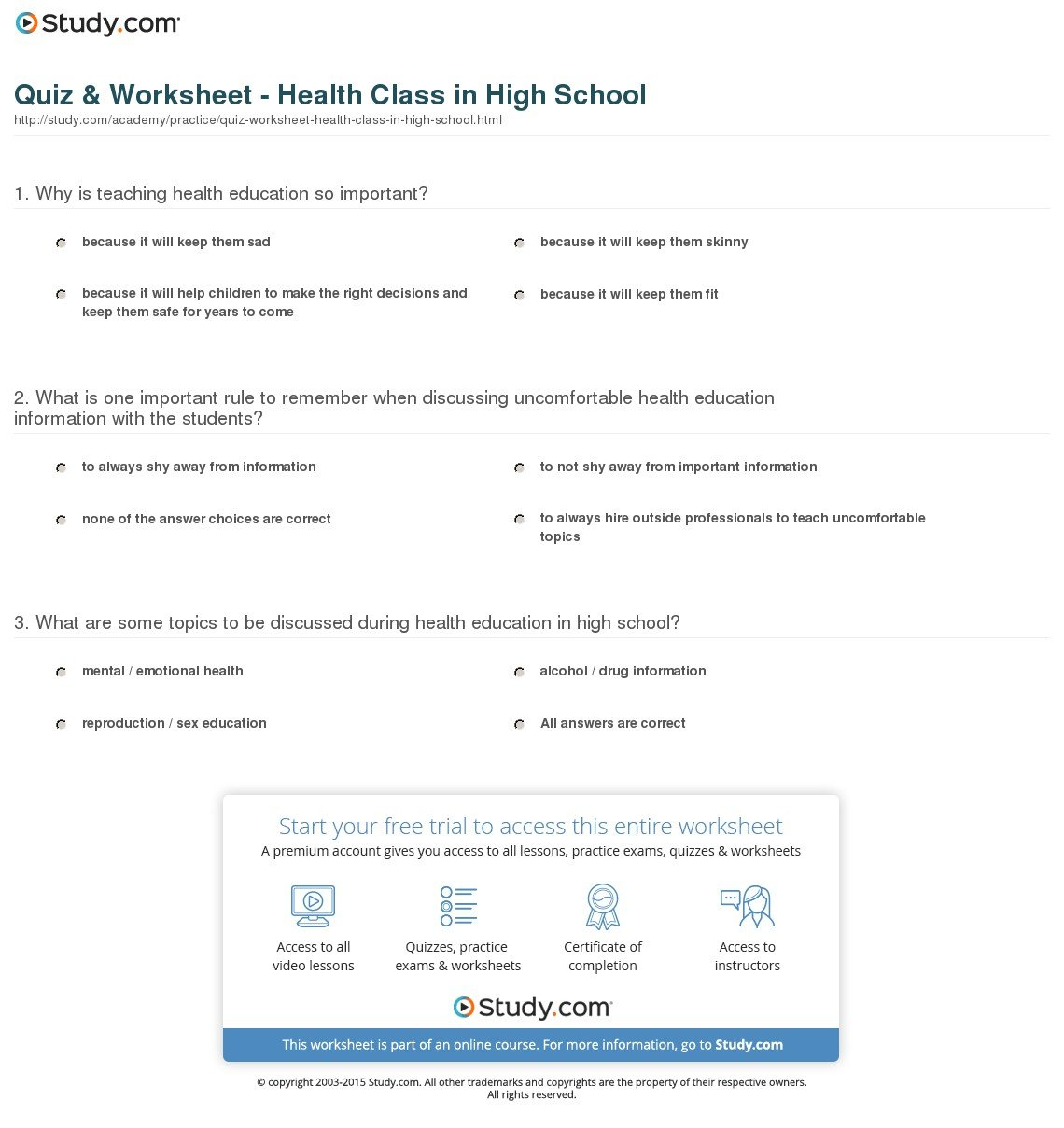 High School Health Worksheets