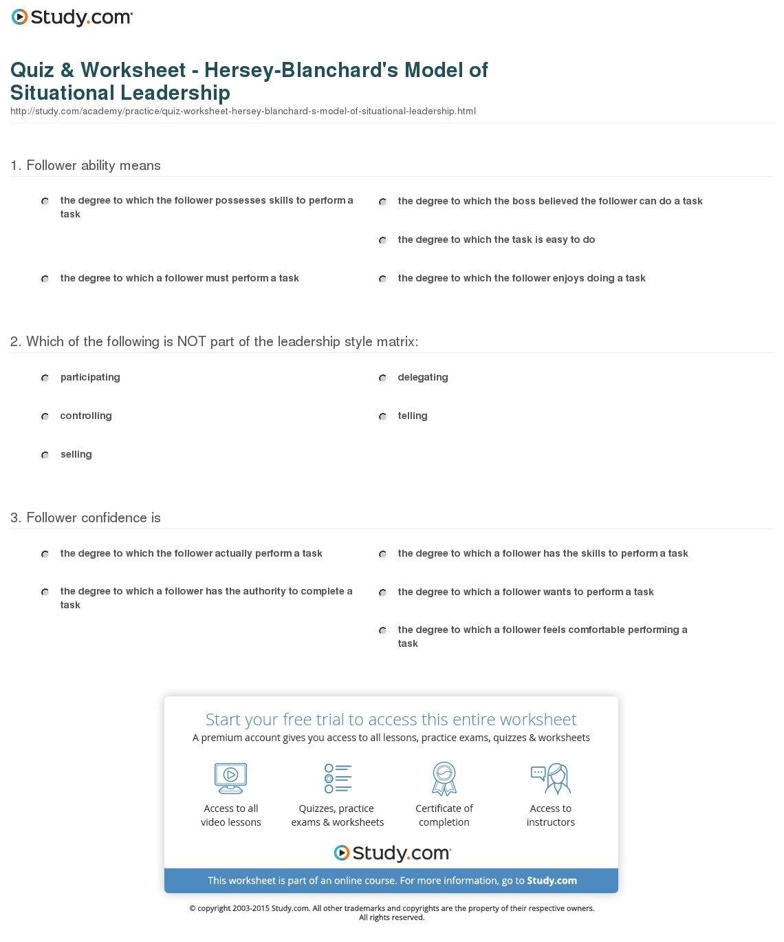 Situational Leadership Worksheet