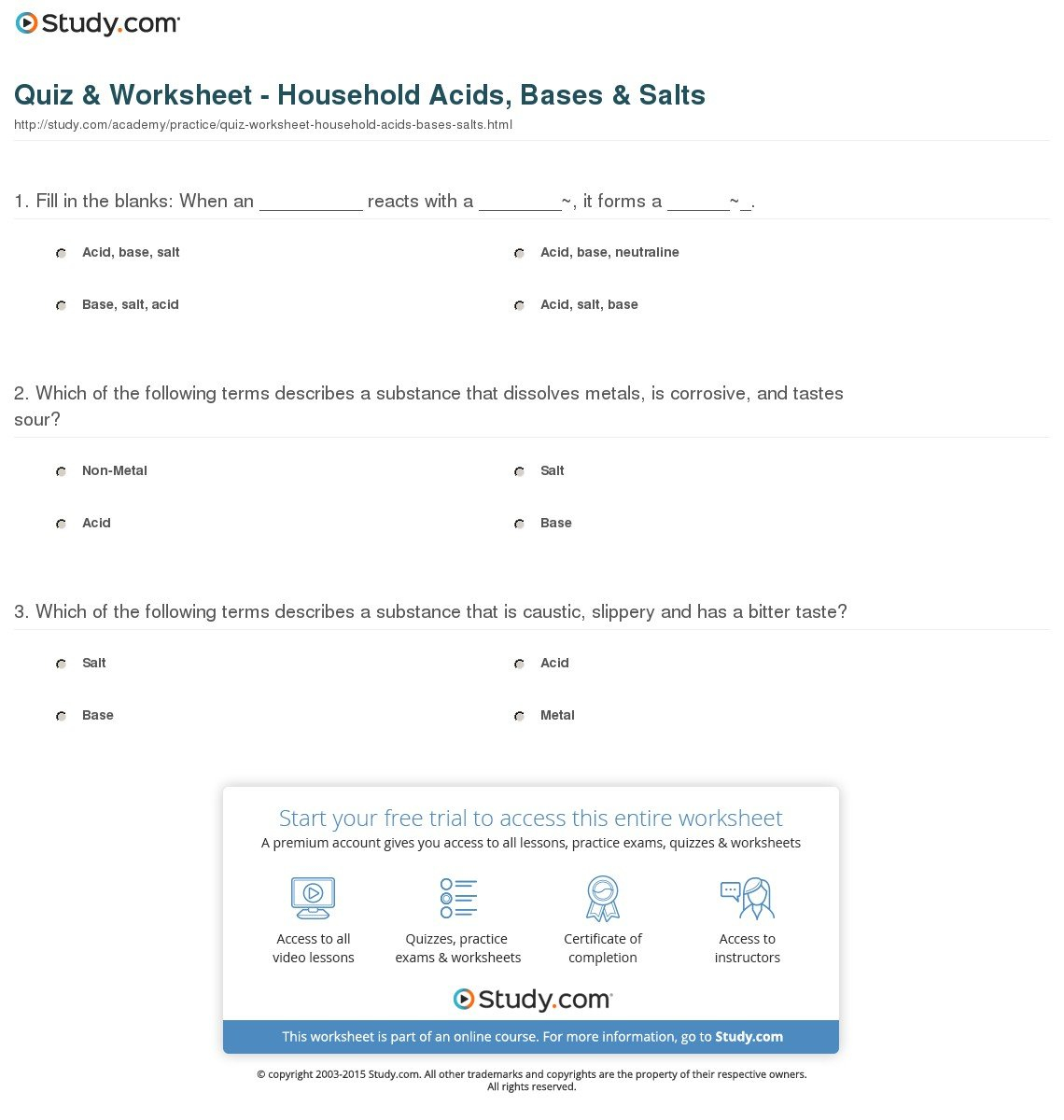 Acids Bases And Salts Worksheet