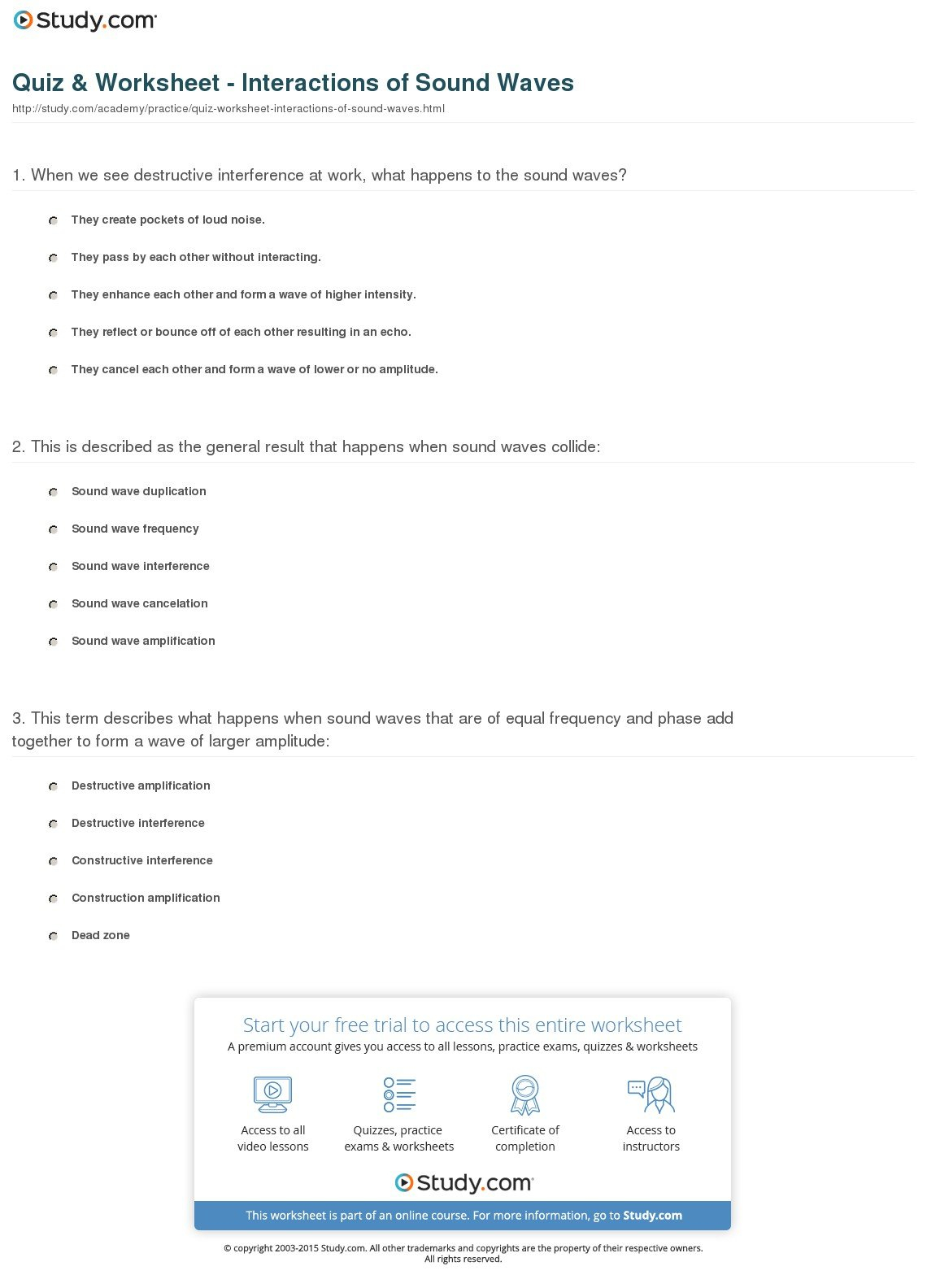 Wave Interactions Worksheet Answers