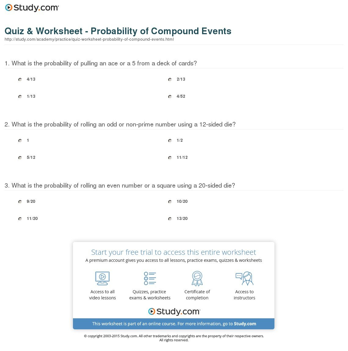 Compound Events Worksheet Answer Key