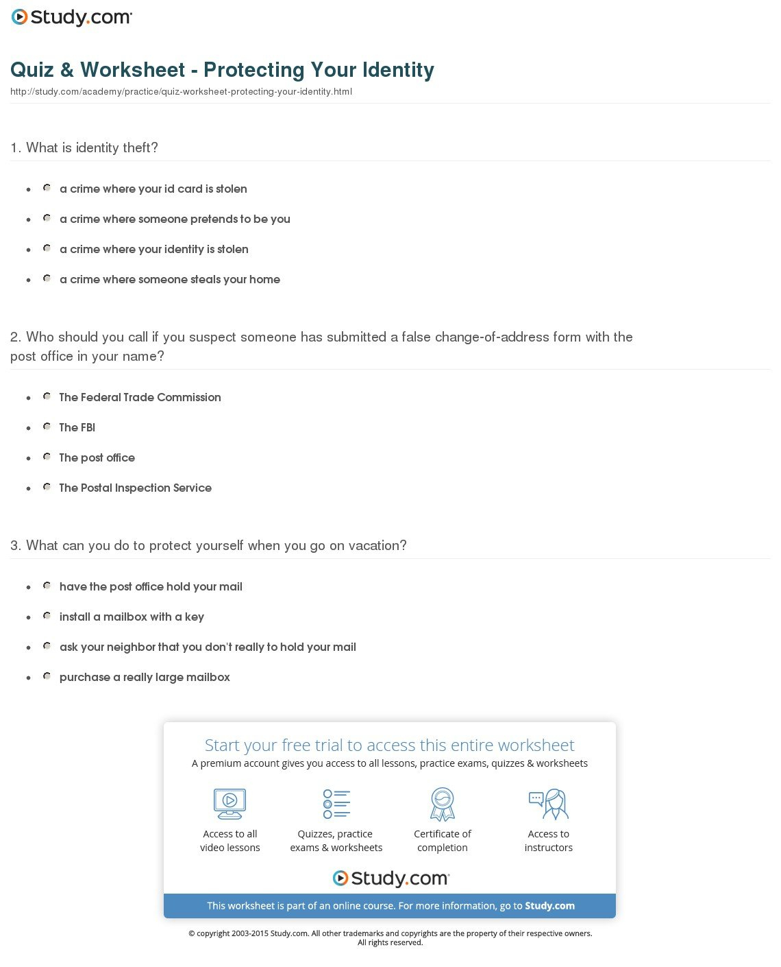Identity Theft Worksheet Answers