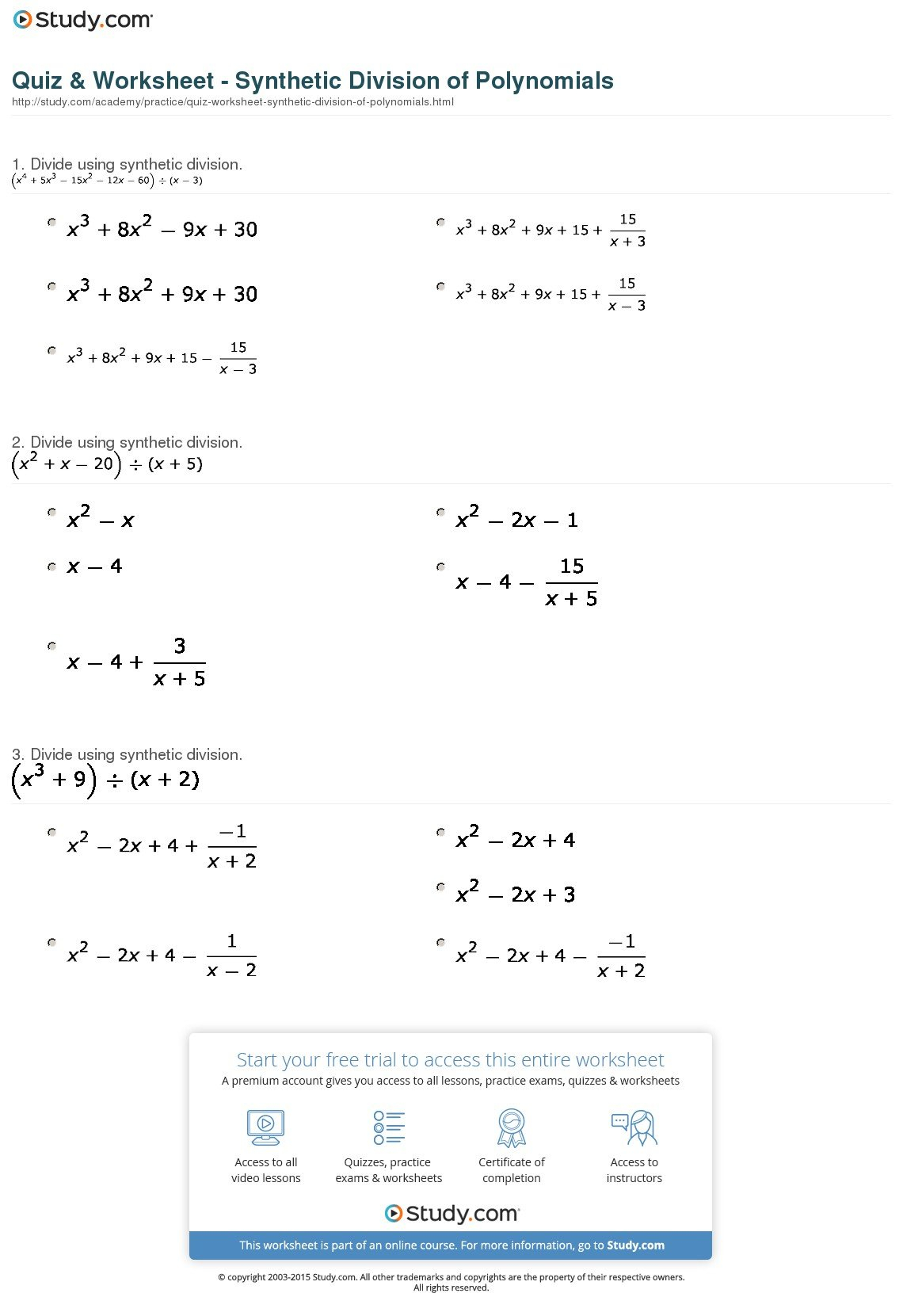 Synthetic Division Worksheet With Answers Excelguider