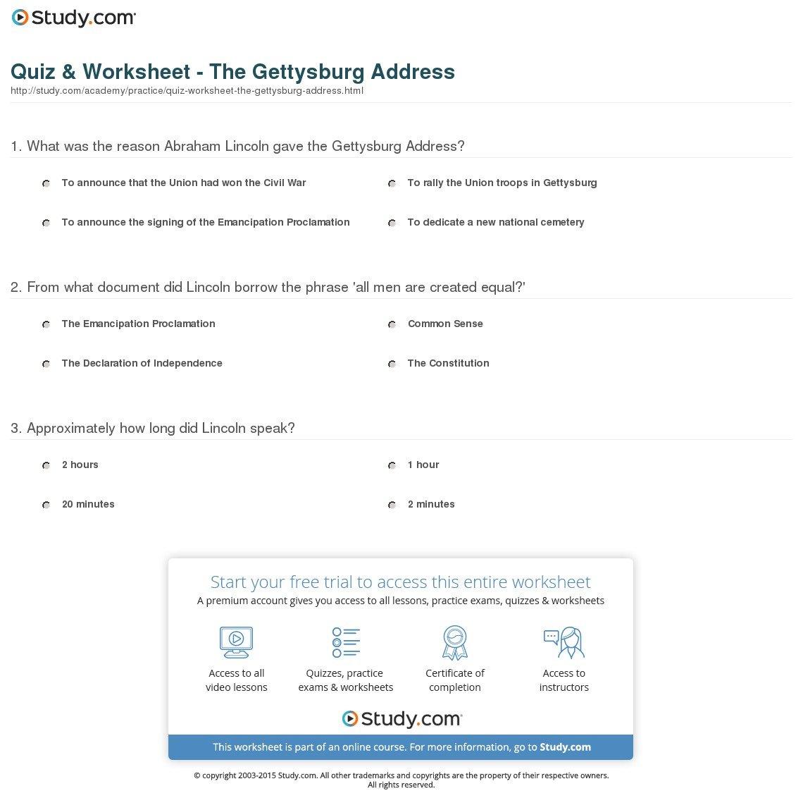 Gettysburg Address Worksheet