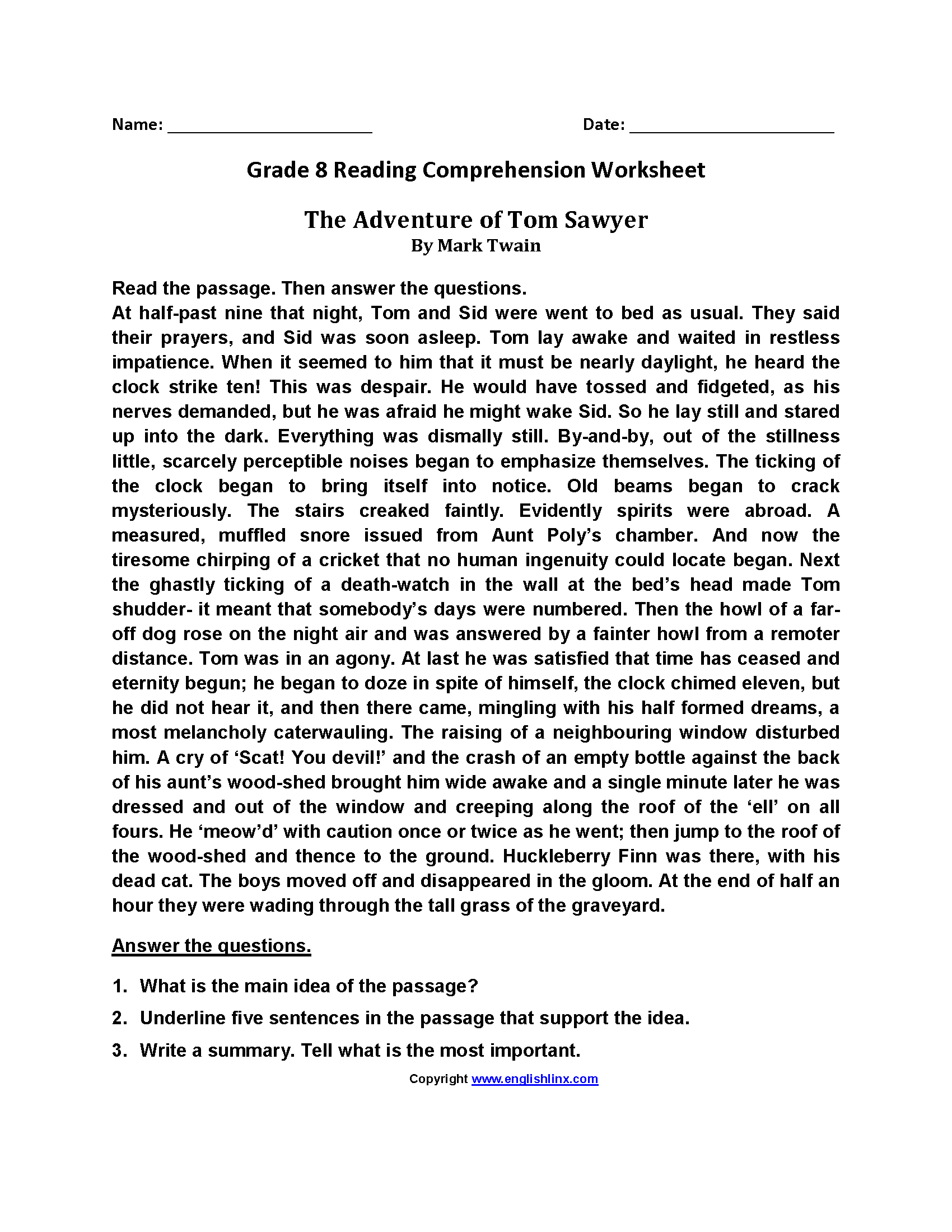 High School Reading Comprehension Worksheets With Answer