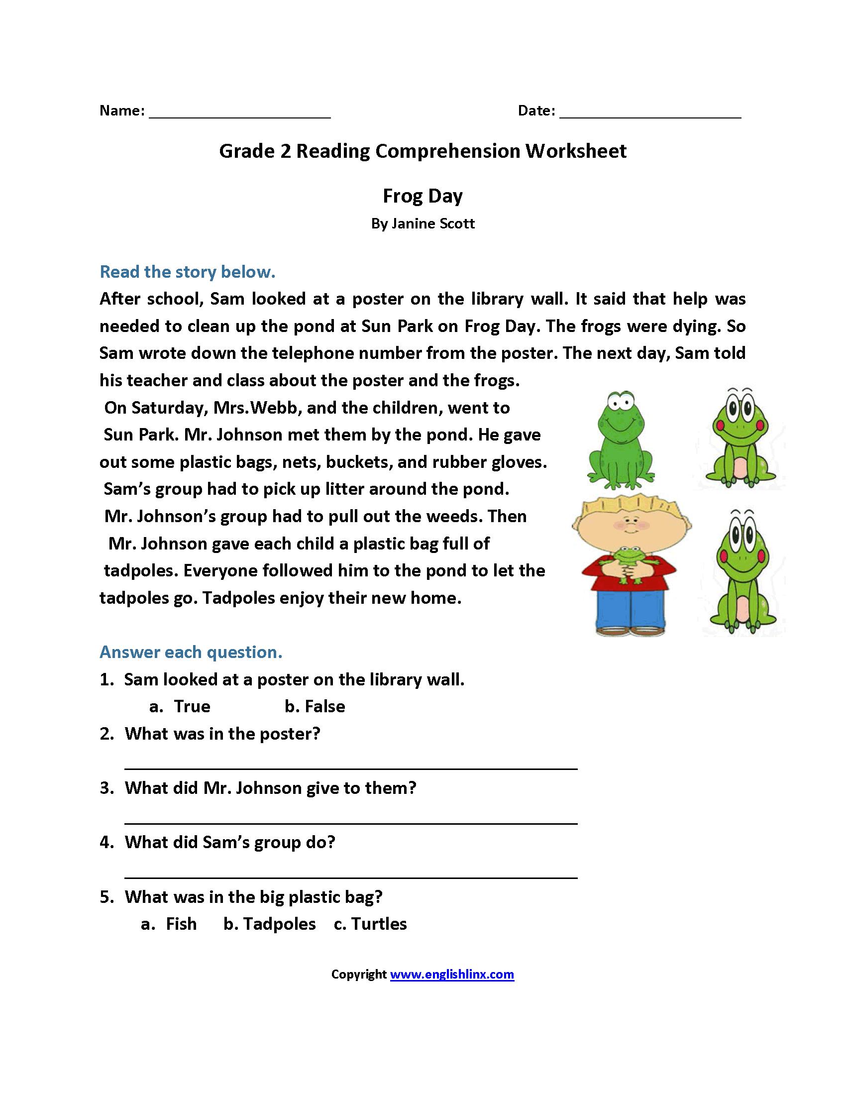 Free 2nd Grade Reading Comprehension Worksheets Multiple