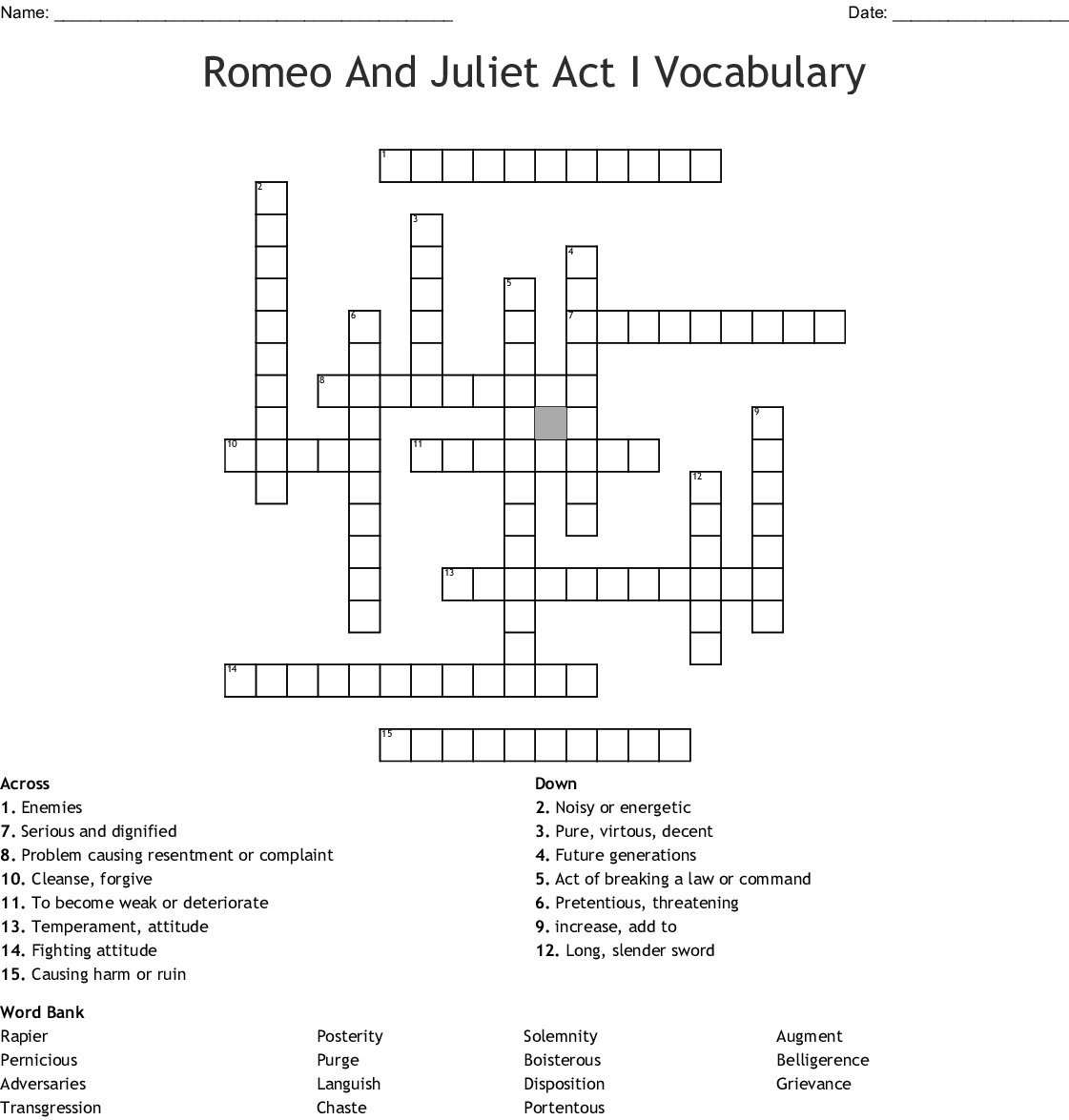 Romeo And Juliet Act 1 Vocabulary Worksheet Answers