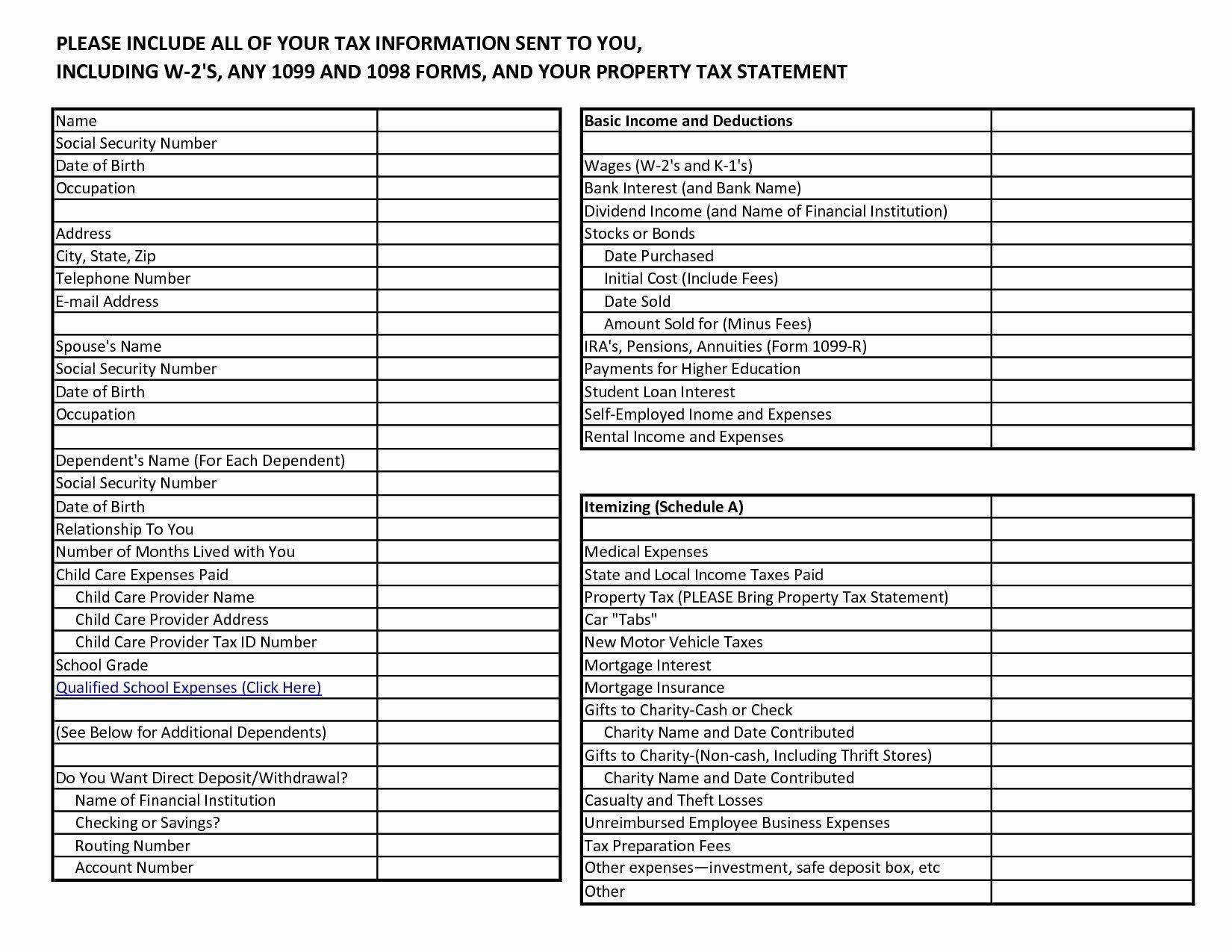 Tax Prep Worksheet