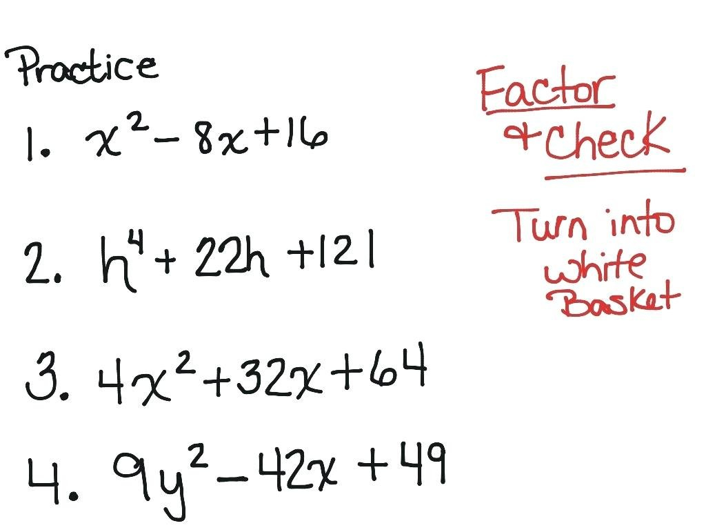 Factoring Perfect Square Trinomials Worksheet