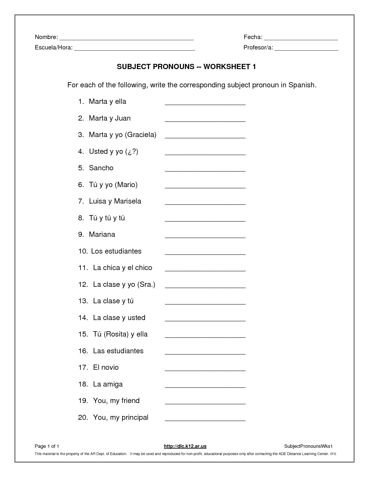 Subject Pronouns Worksheet 1 Spanish Answer Key